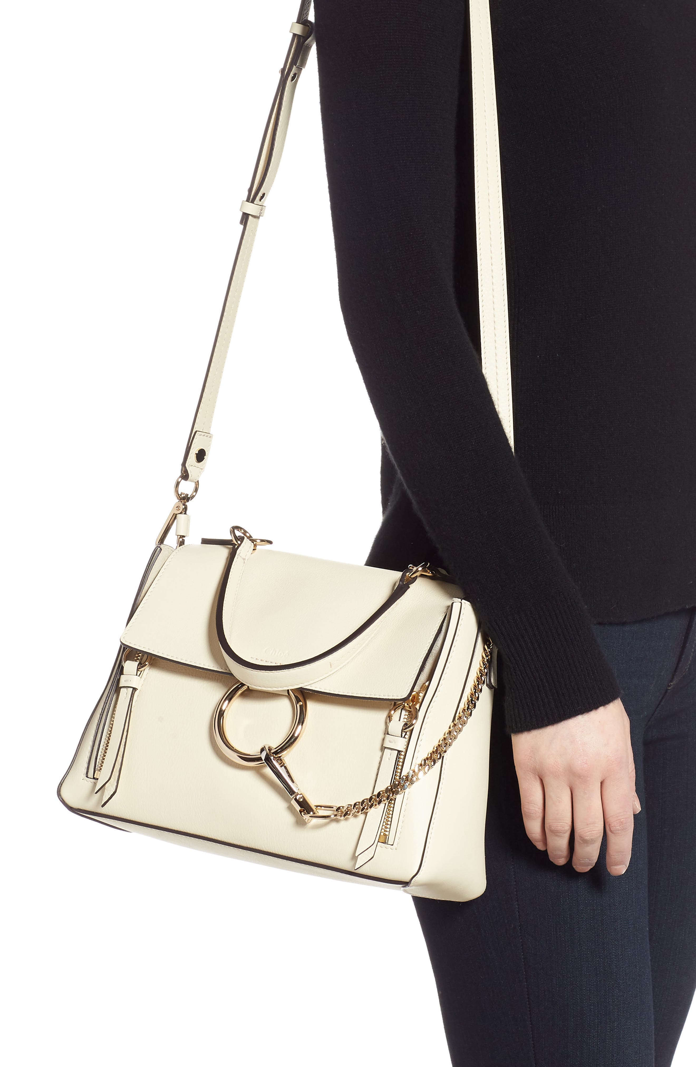 CHLOÉ, Small Faye Day Leather Shoulder Bag, Alternate thumbnail 2, color, OFF WHITE