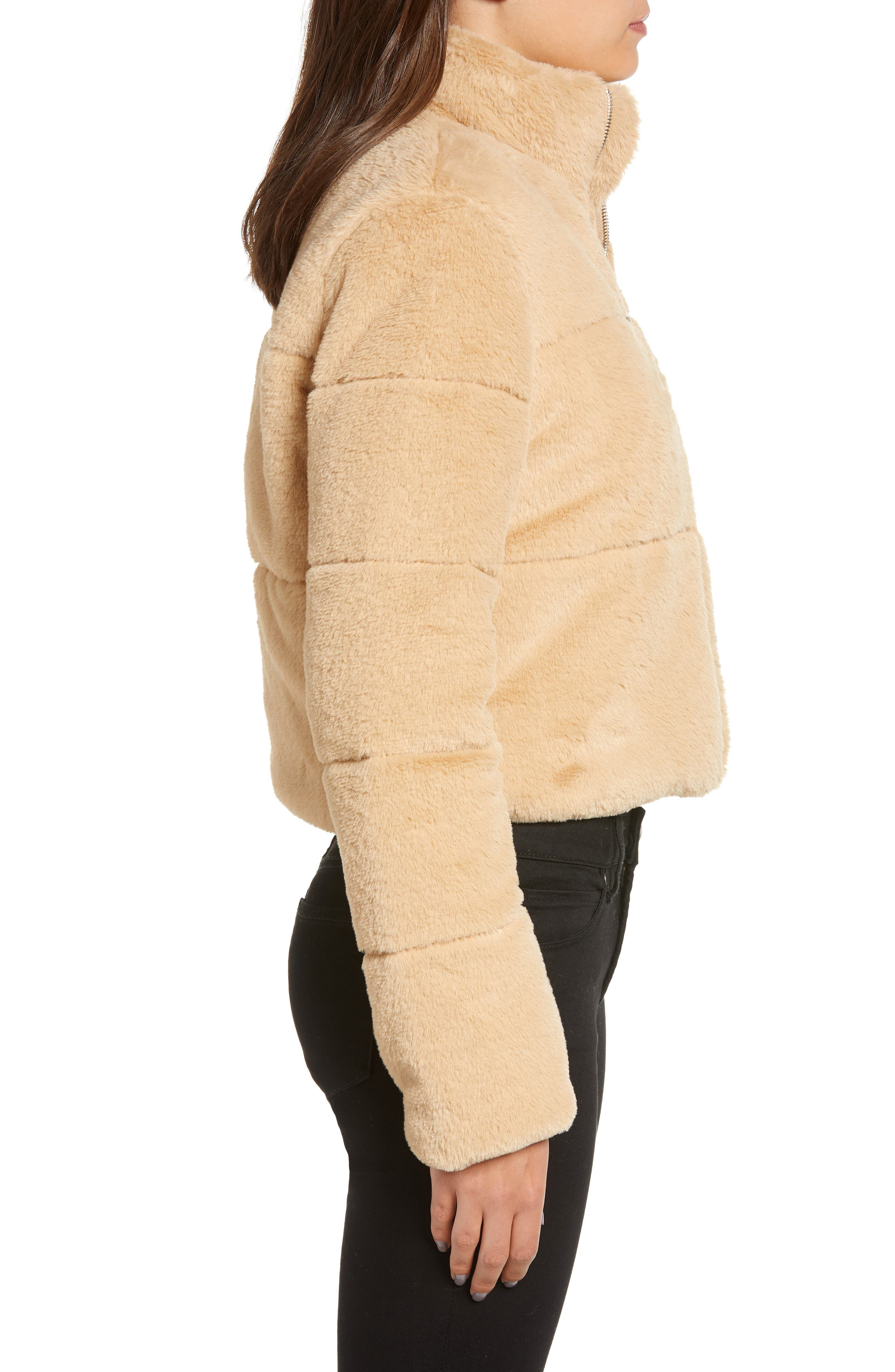 TIGER MIST, Bridget Faux Fur Puffer Jacket, Alternate thumbnail 4, color, 250