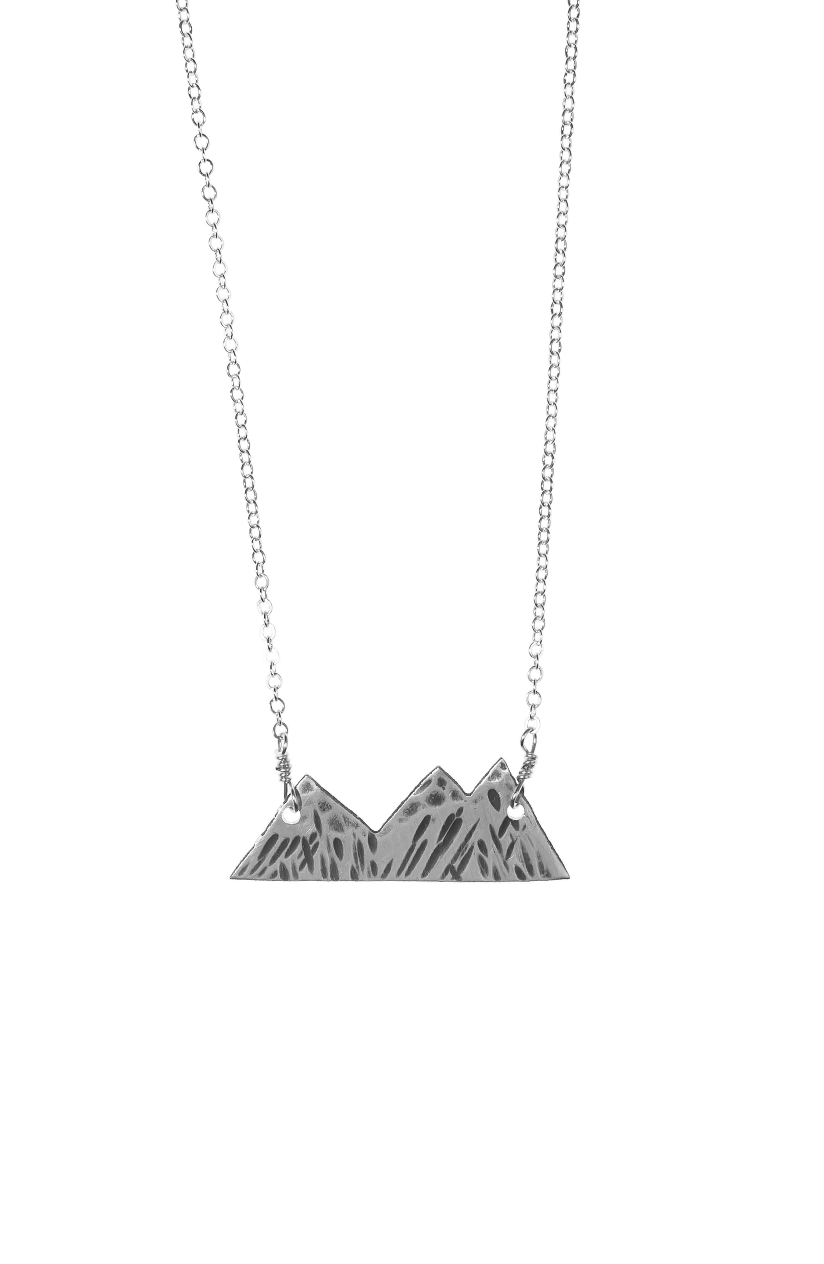 NASHELLE Three Sisters Mountain Necklace, Main, color, SILVER