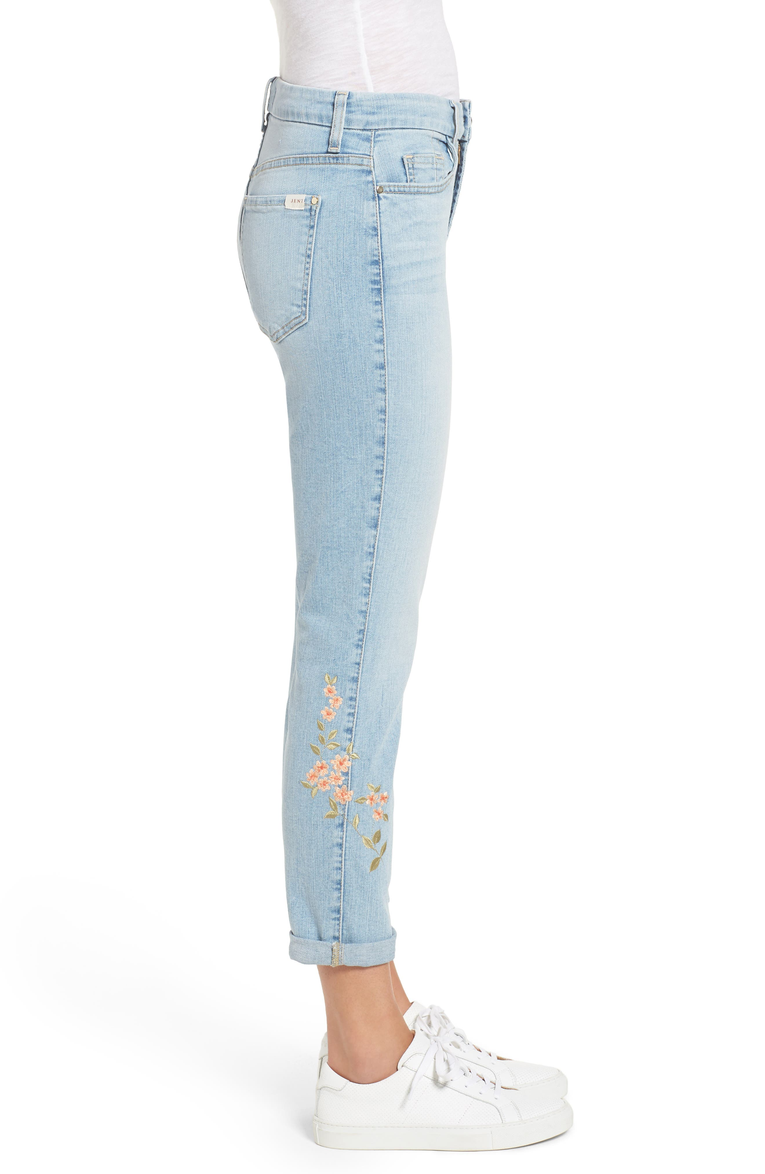 JEN7 BY 7 FOR ALL MANKIND, Embroidered Slim Boyfriend Jeans, Alternate thumbnail 4, color, RICHE TOUCH PLAYA VISTA