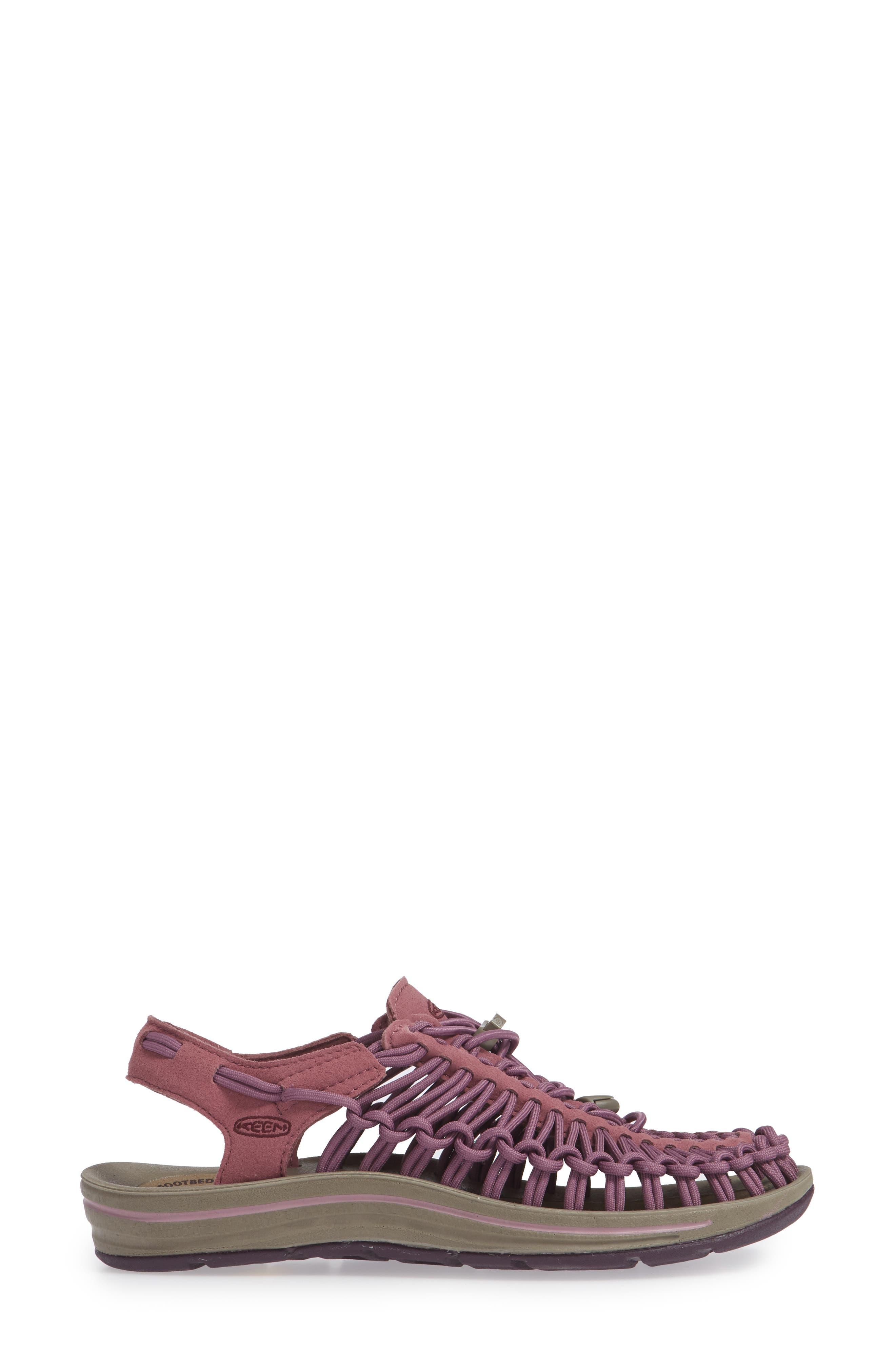 KEEN, 'Uneek' Water Sneaker, Alternate thumbnail 3, color, TULIPWOOD/ WINETASTING