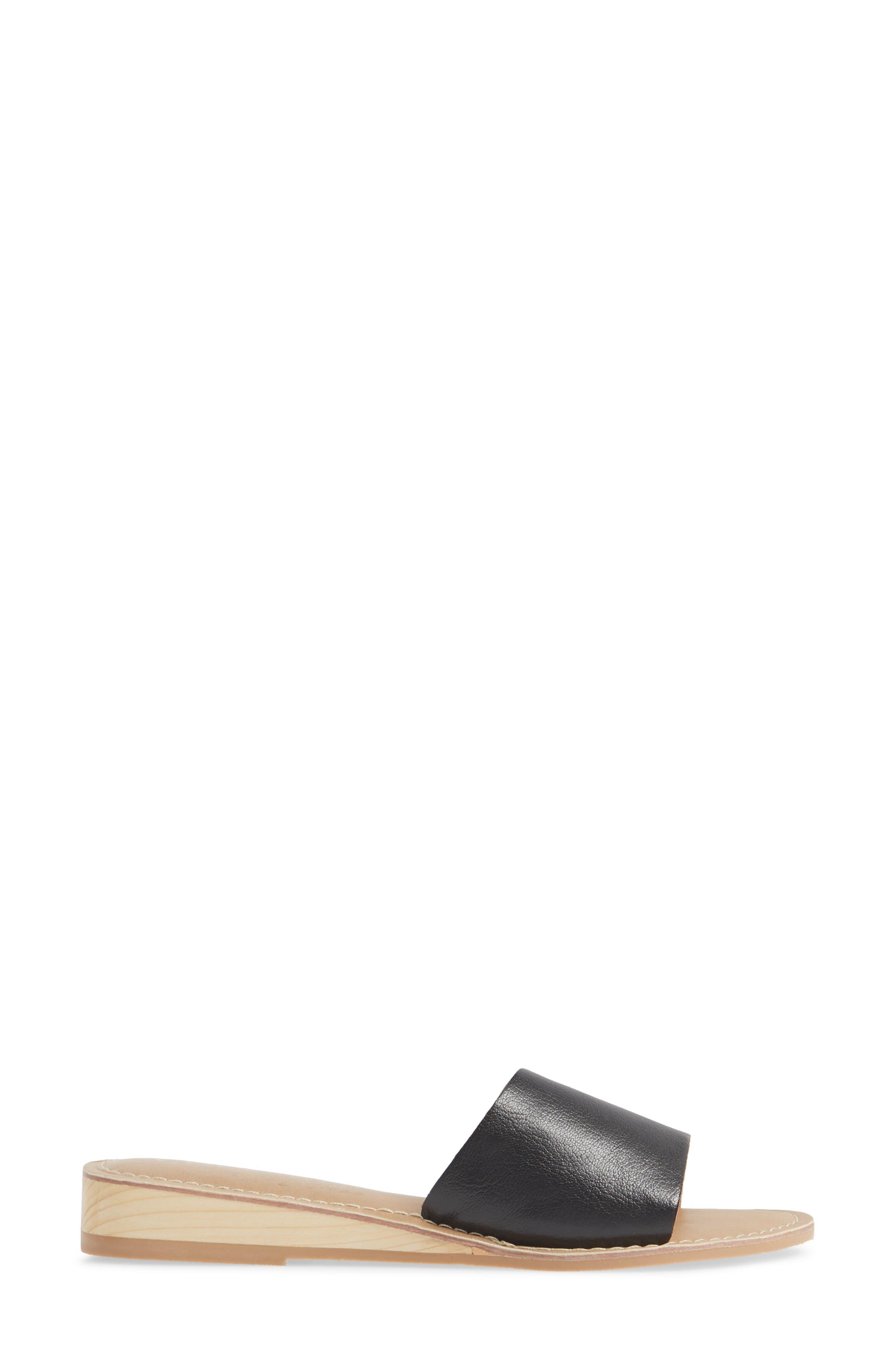 COCONUTS BY MATISSE, Tiki Slide Sandal, Alternate thumbnail 3, color, BLACK LEATHER