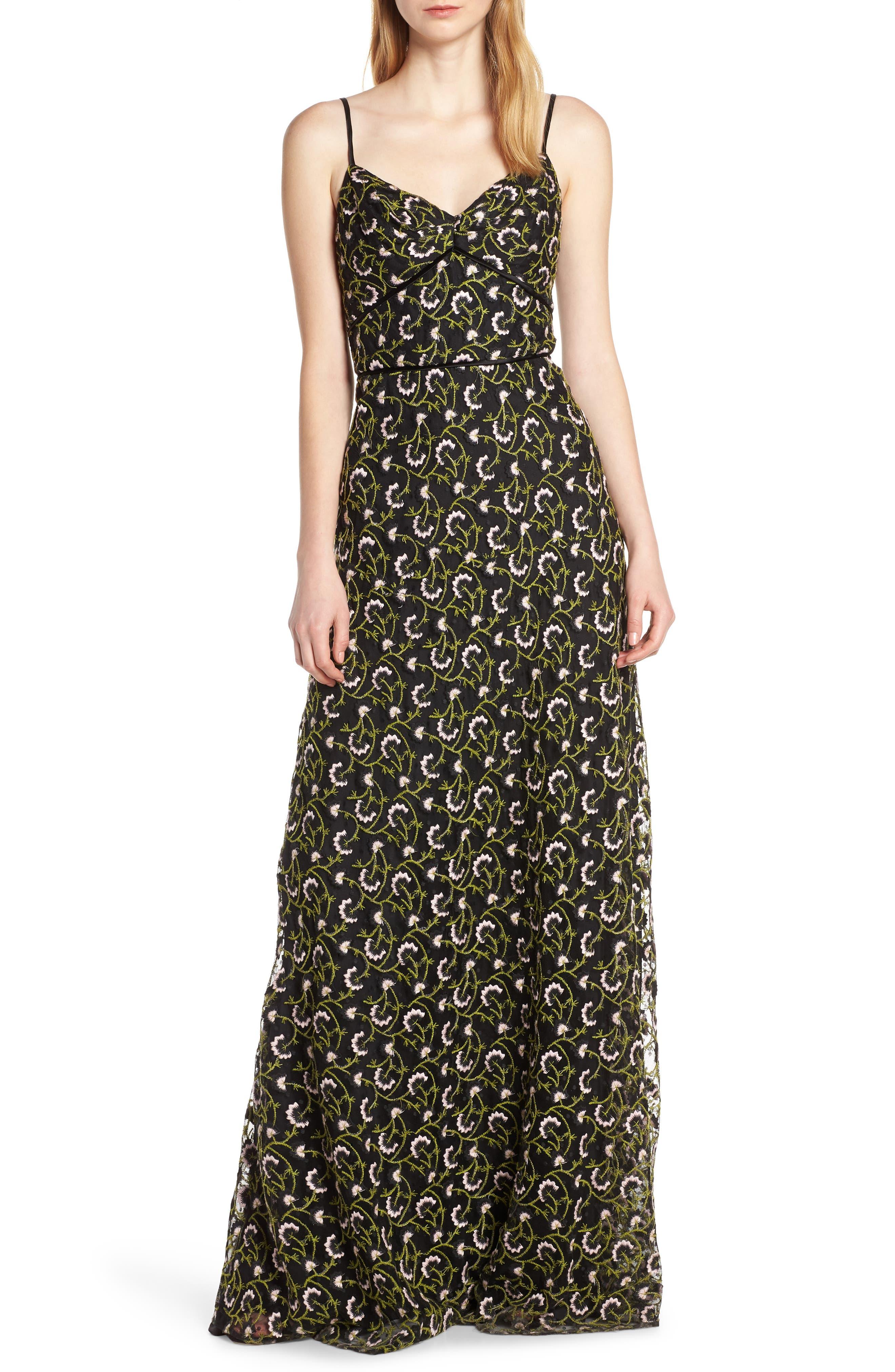 Jill Jill Stuart Floral Embroidered Lace Maxi Dress, Black