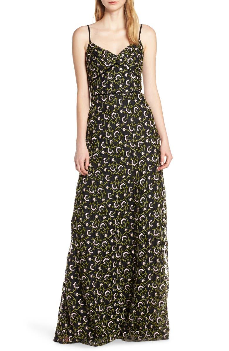 Jill Jill Stuart Dresses FLORAL EMBROIDERED LACE MAXI DRESS