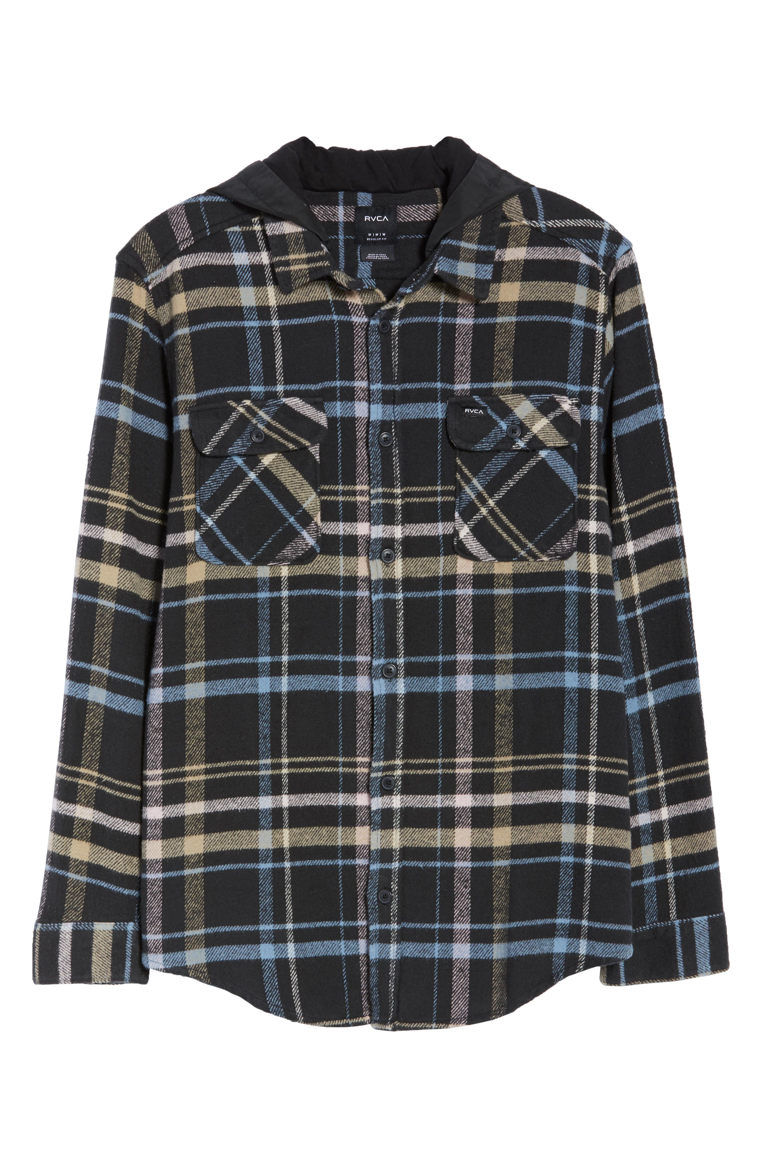 RVCA, Essex Hooded Flannel Shirt, Alternate thumbnail 5, color, RVCA BLACK