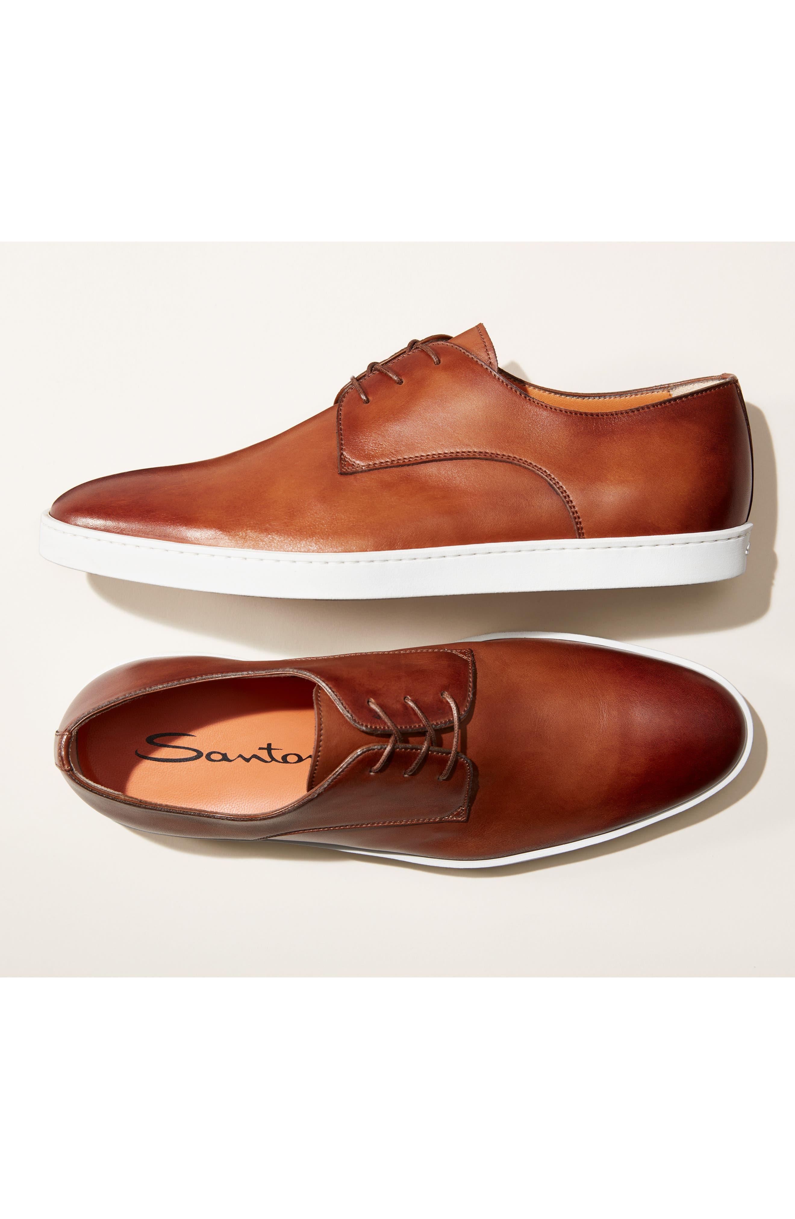 SANTONI, Doyle Plain Toe Derby Sneaker, Alternate thumbnail 7, color, TAN