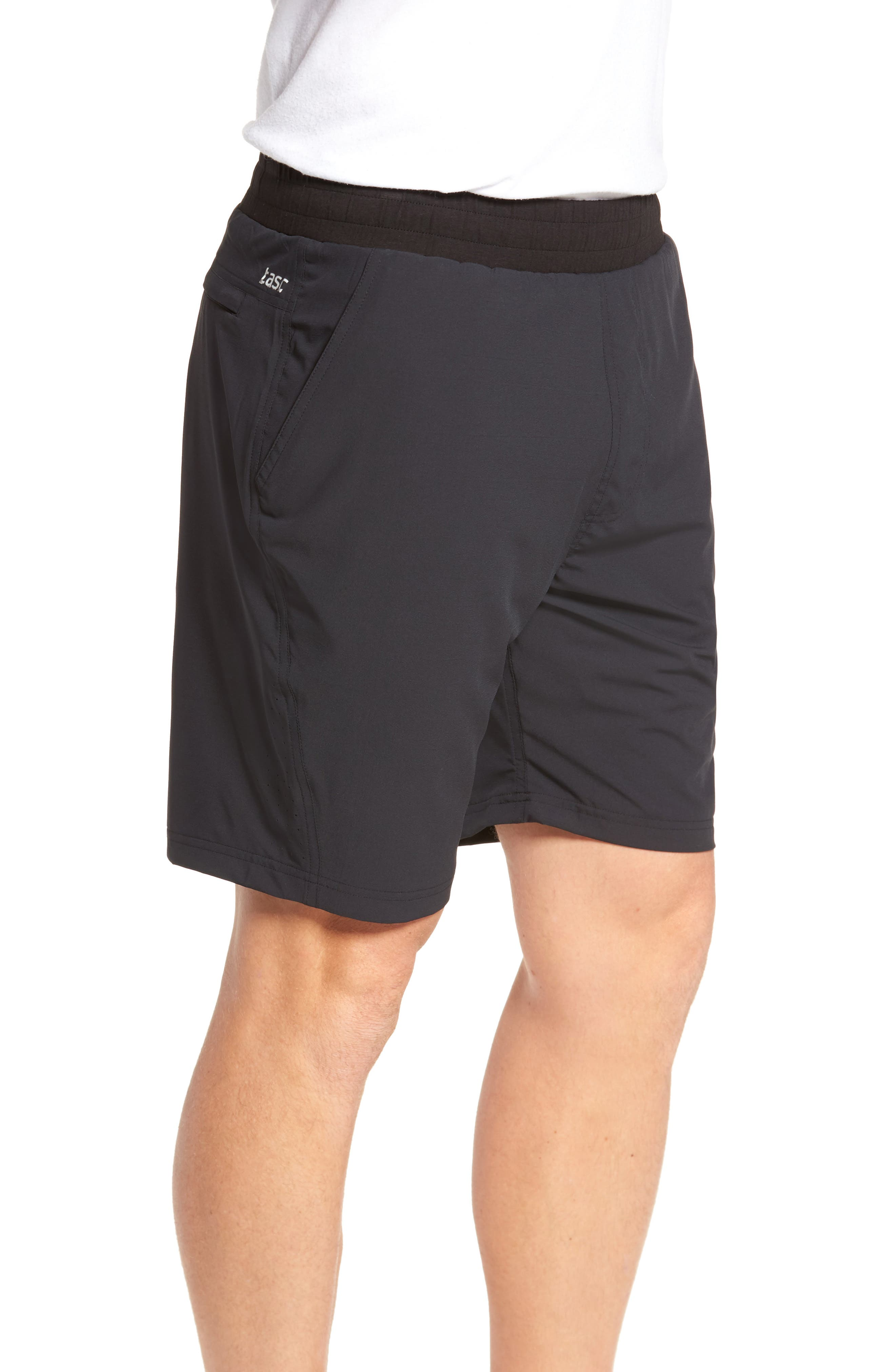 TASC PERFORMANCE, Charge Water Resistant Athletic Shorts, Alternate thumbnail 4, color, BLACK