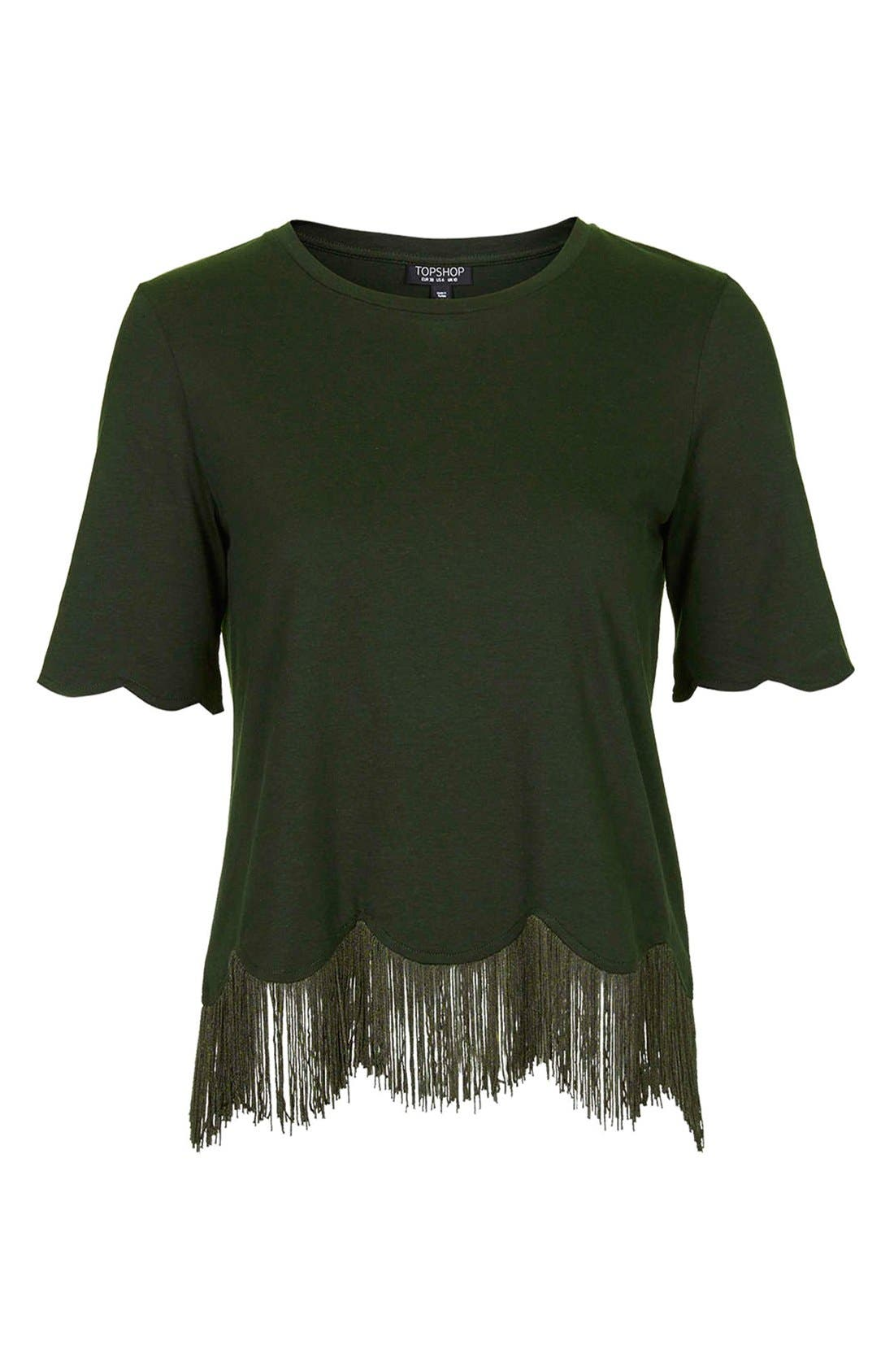 TOPSHOP, Fringe Scallop Tee, Alternate thumbnail 2, color, 301