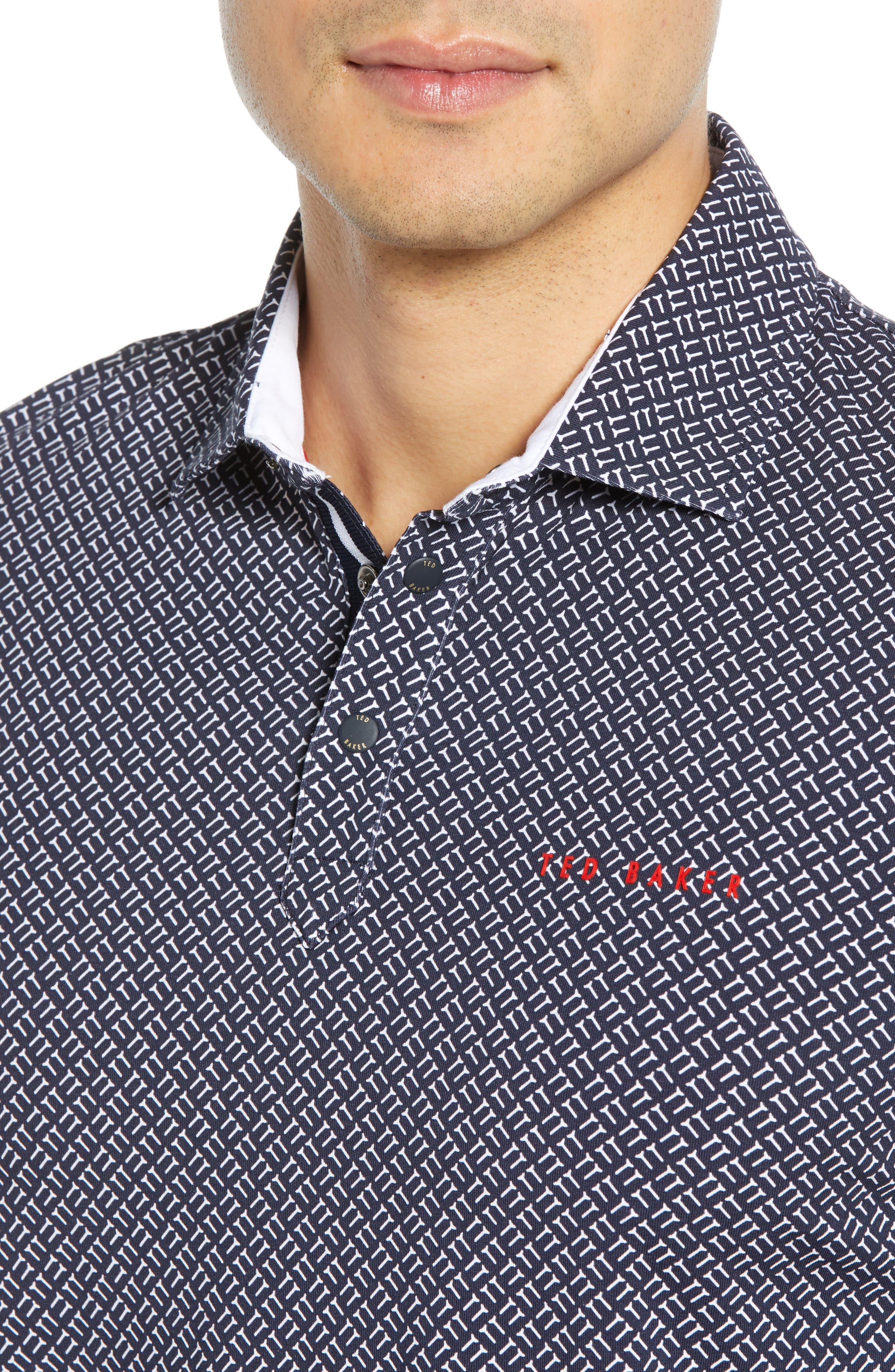 TED BAKER LONDON, Wallnot Slim Fit Golf Polo, Alternate thumbnail 4, color, NAVY