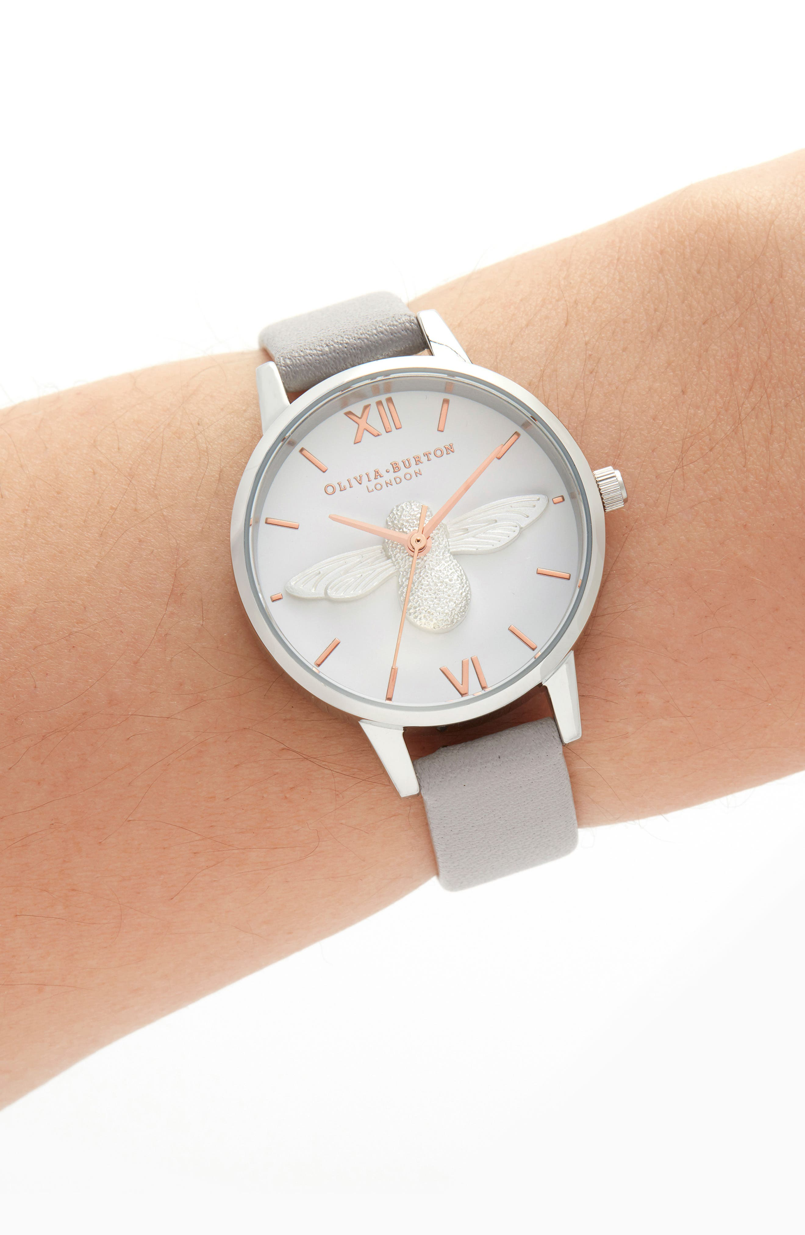 OLIVIA BURTON, 3D Bee Leather Strap Watch, 30mm, Alternate thumbnail 2, color, GREY LILAC/ WHITE BEE/ SILVER
