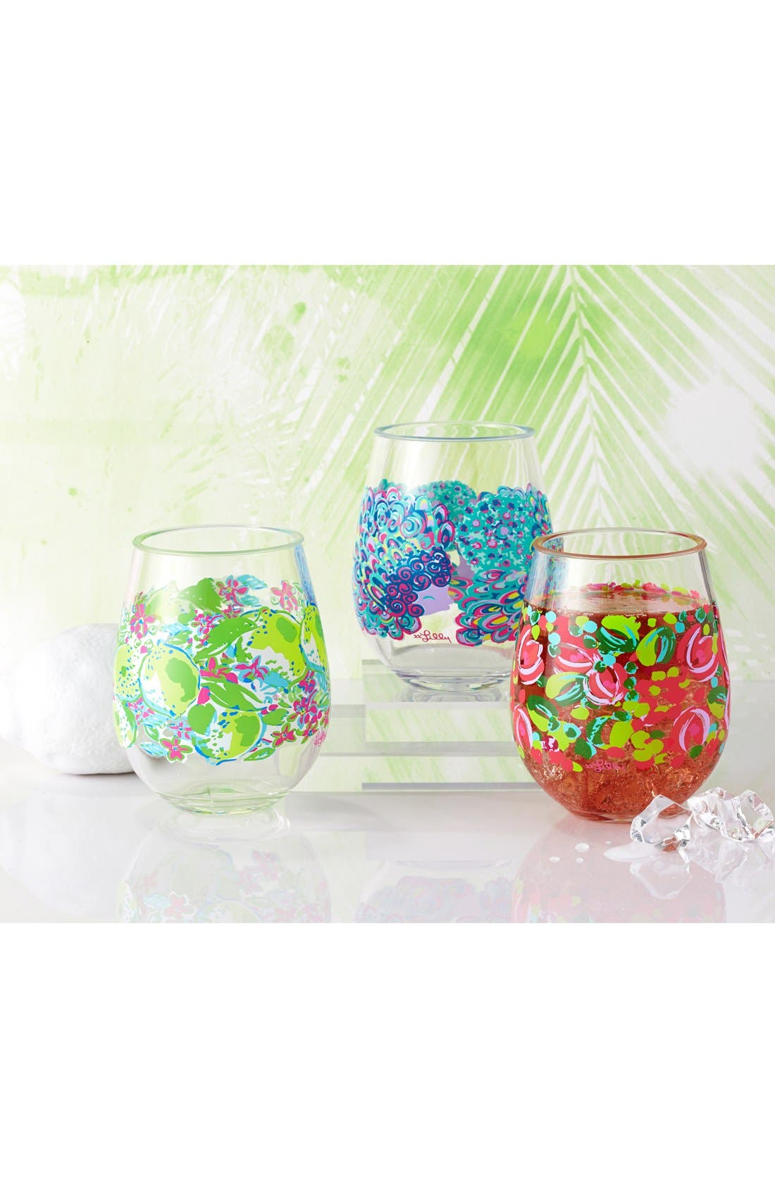 LILLY PULITZER<SUP>®</SUP>, Set of 2 Stemless Wine Glasses, Alternate thumbnail 2, color, 650