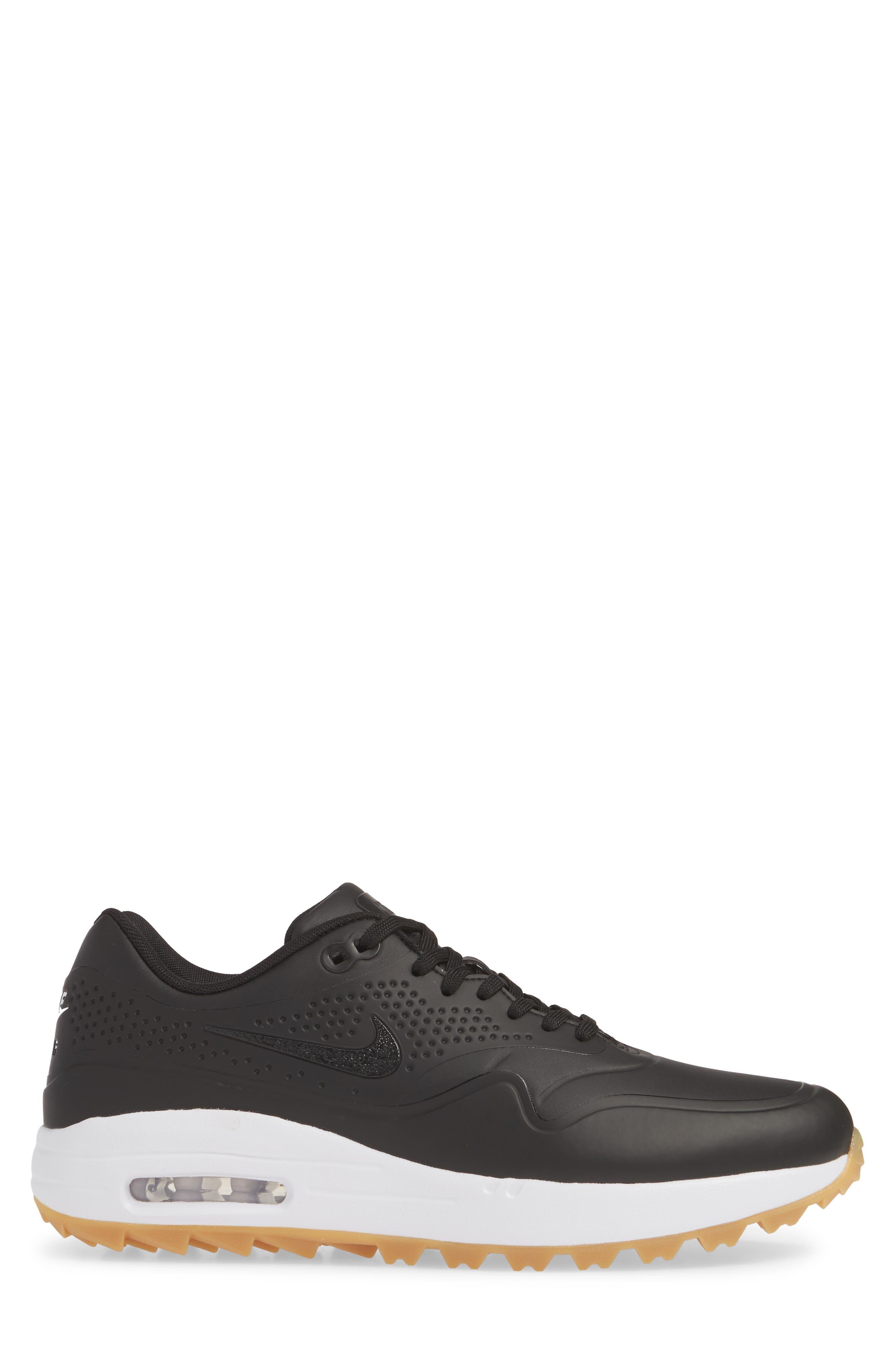 NIKE, Air Max 1 Golf Sneaker, Alternate thumbnail 3, color, BLACK/ GUM LIGHT BROWN