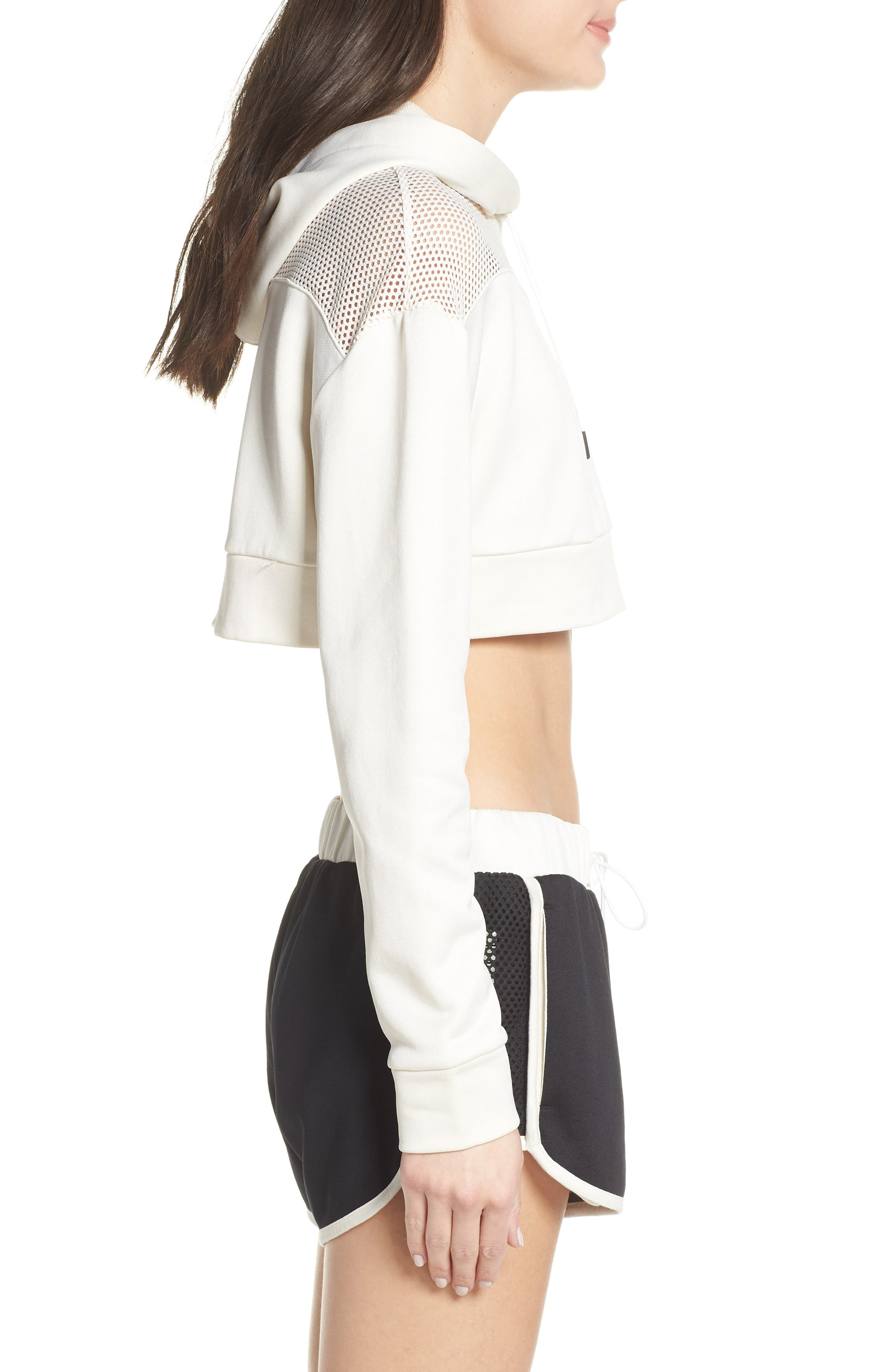 PUMA, Flourish Crop Hooded Sweatshirt, Alternate thumbnail 4, color, WHISPER WHITE-PUMA BLACK