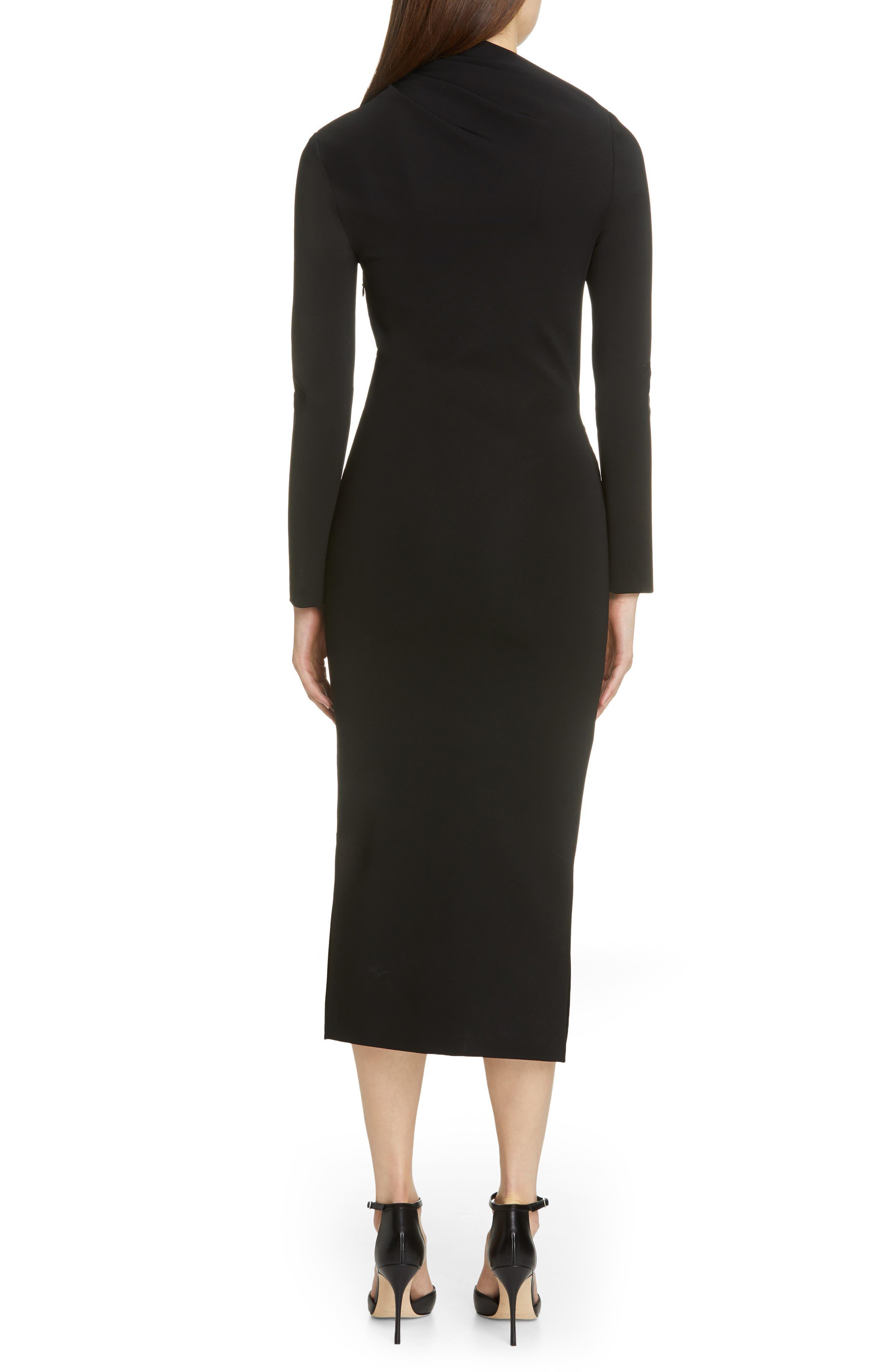 BRANDON MAXWELL, Side Drape Jersey Dress, Alternate thumbnail 2, color, BLACK