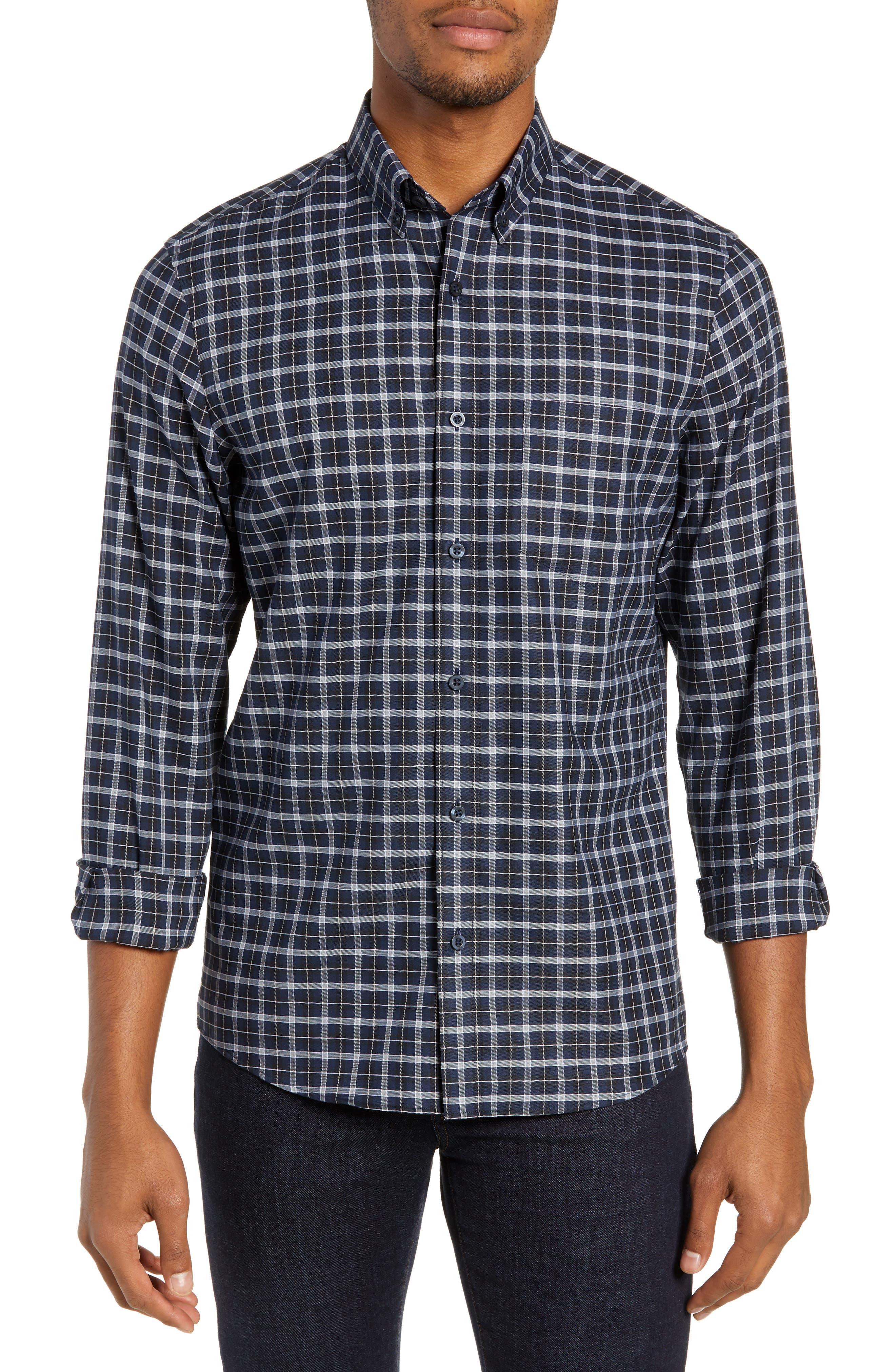 NORDSTROM MEN'S SHOP Tech-Smart Slim Fit Check Sport Shirt, Main, color, NAVY IRIS BLACK CHECK