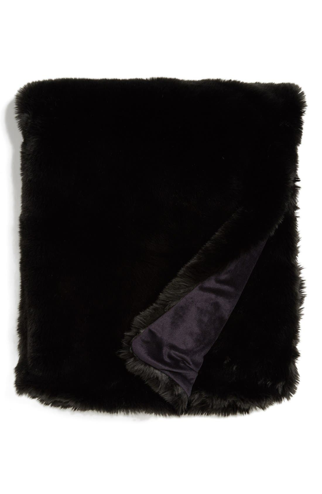 NORDSTROM AT HOME, Faux Fur Throw, Main thumbnail 1, color, 001