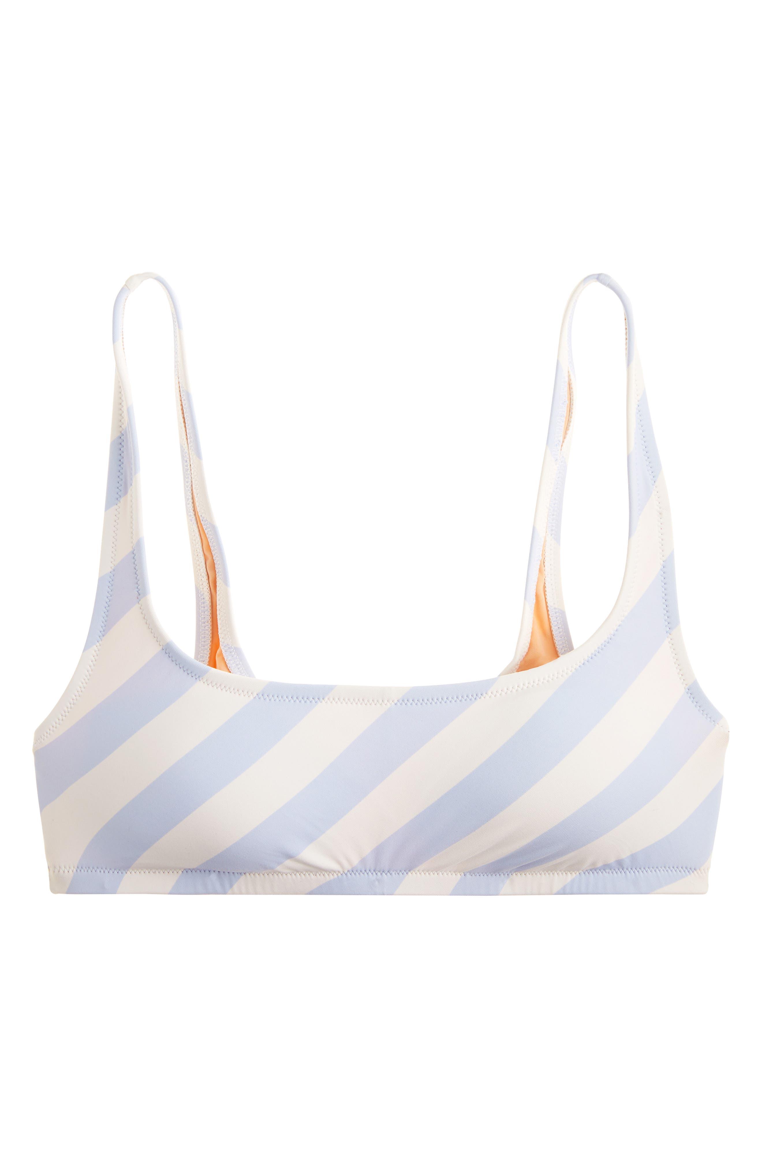 J.CREW, Stripe Scoop Neck Bikini Top, Alternate thumbnail 4, color, 400