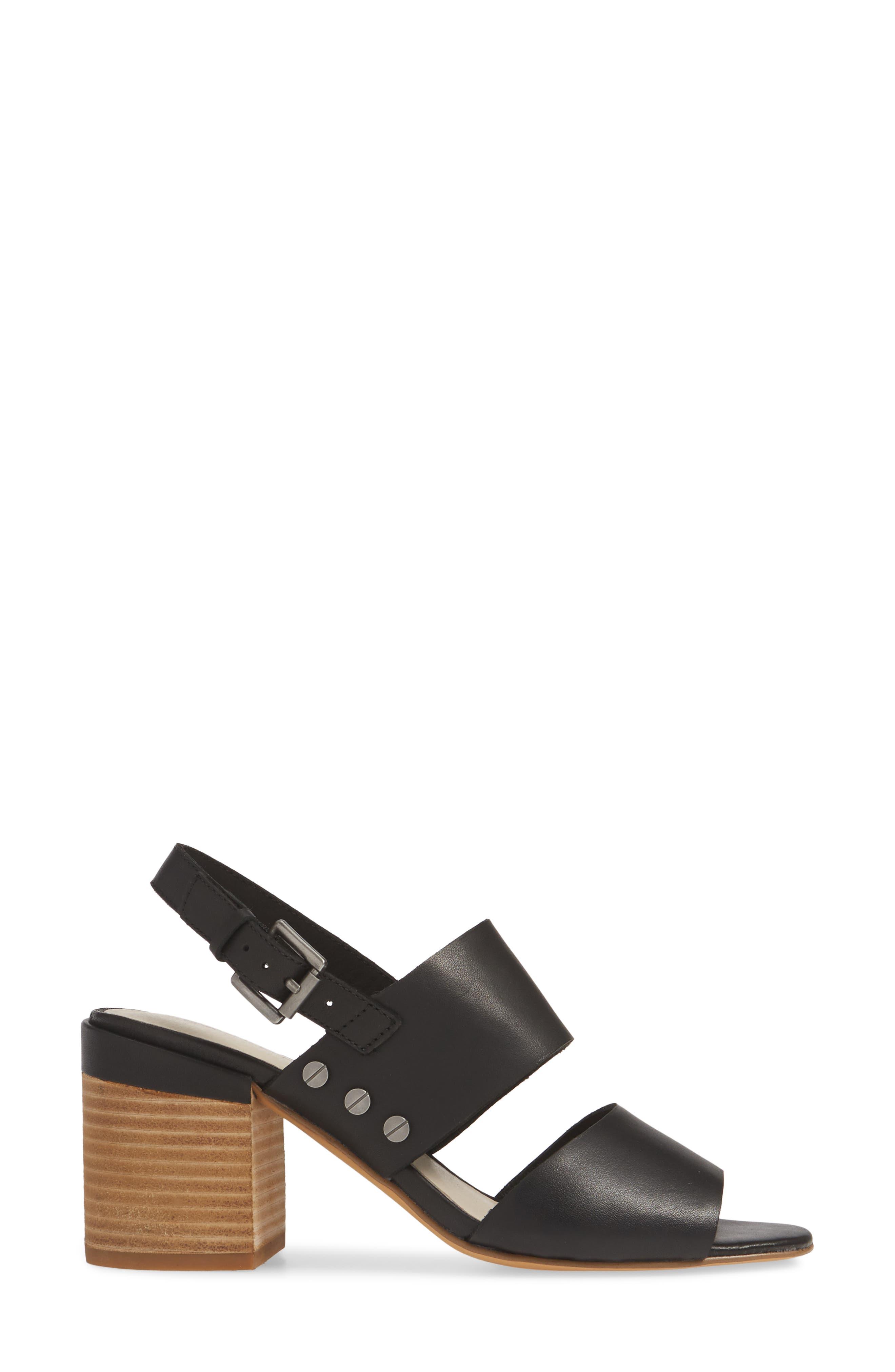 CASLON<SUP>®</SUP>, Caslon Brayden Slingback Sandal, Alternate thumbnail 3, color, BLACK LEATHER