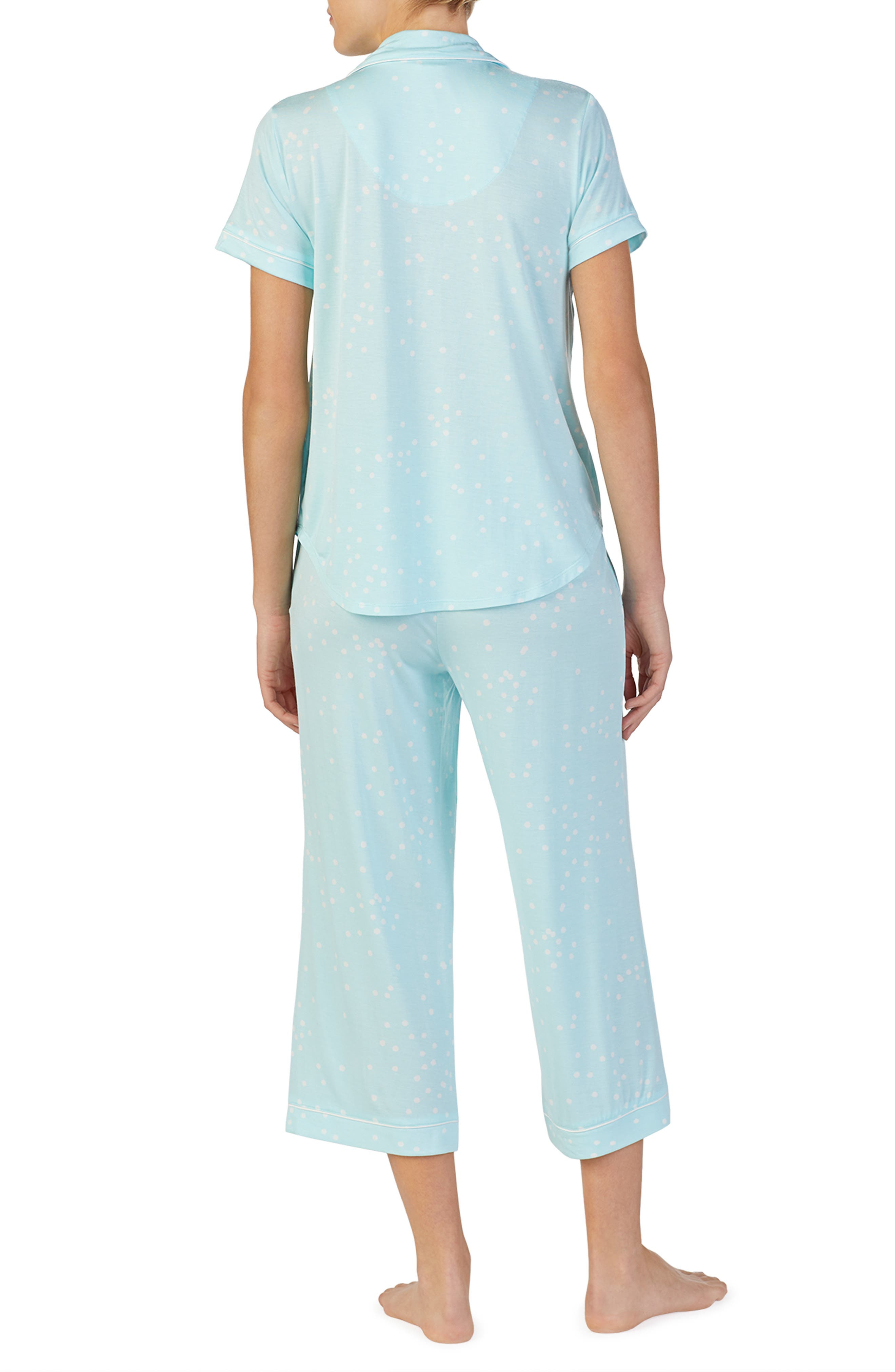KATE SPADE NEW YORK, mrs crop pajamas, Alternate thumbnail 2, color, BRIDAL CONFETTI DOT