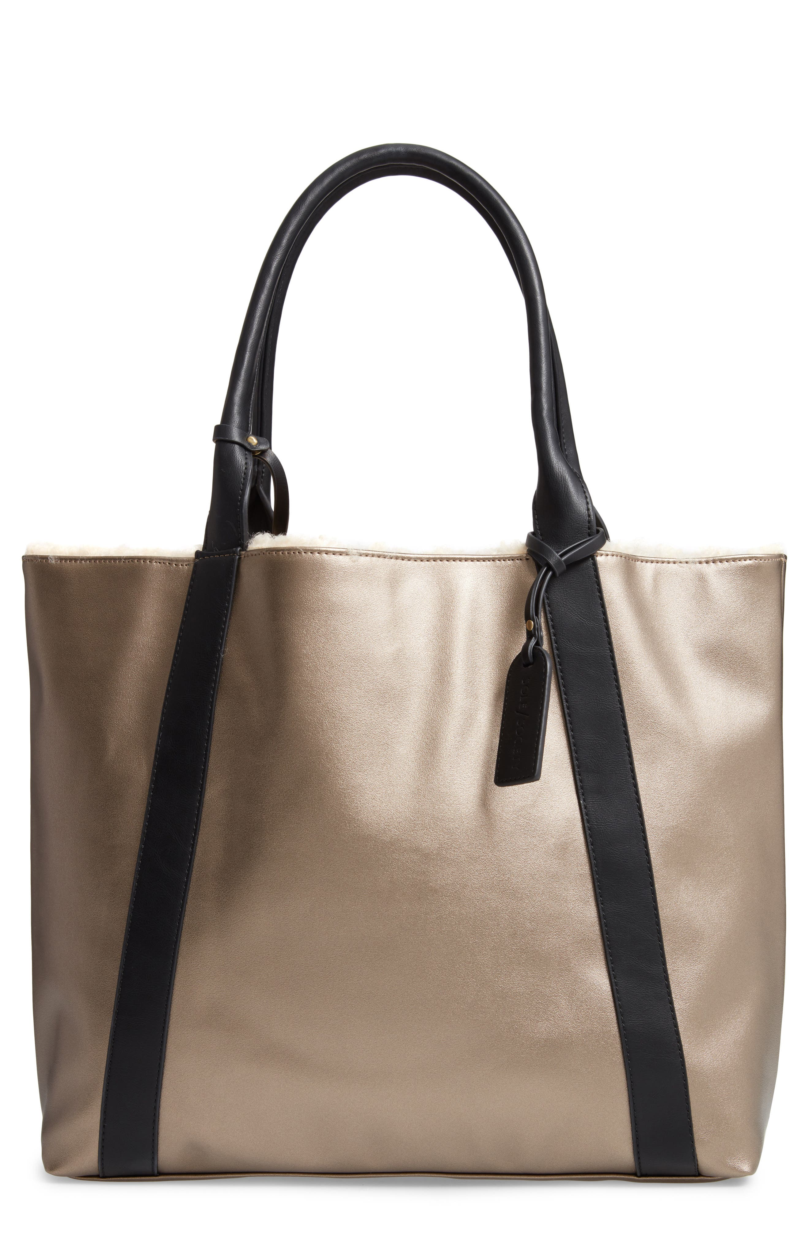 SOLE SOCIETY, Drury Faux Shearling Reversible Tote, Main thumbnail 1, color, PEWTER COMBO