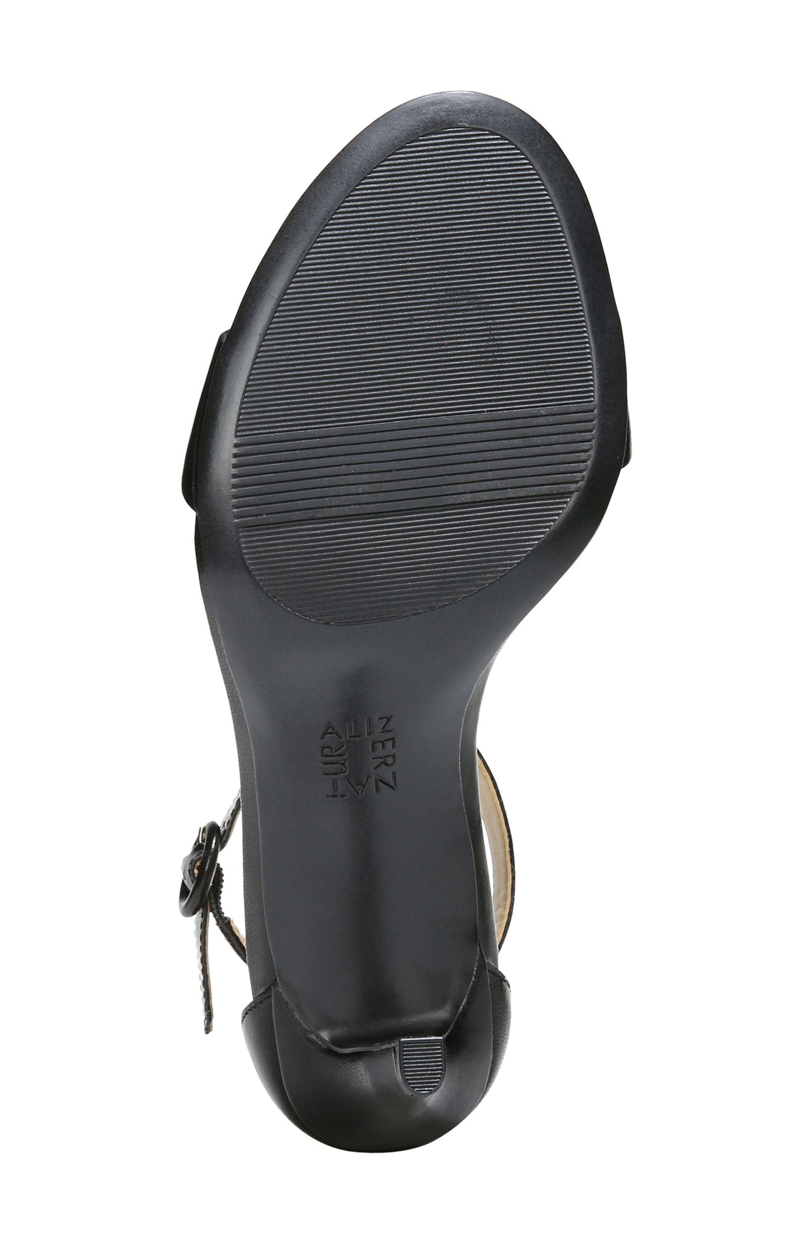 NATURALIZER, Kinsley Ankle Strap Sandal, Alternate thumbnail 6, color, BLACK LEATHER