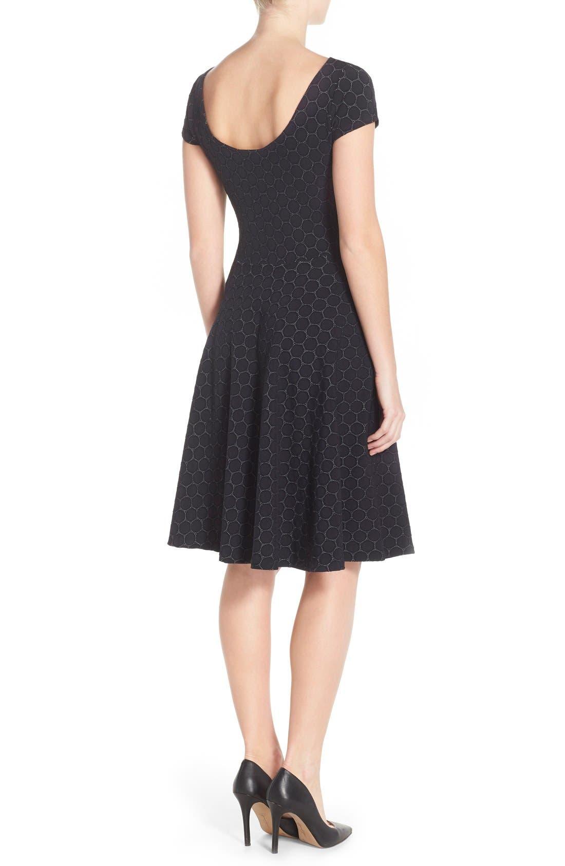 LEOTA, 'Circle' Jacquard Woven Jersey Dress, Alternate thumbnail 2, color, BLACK CAMEO CLOTH