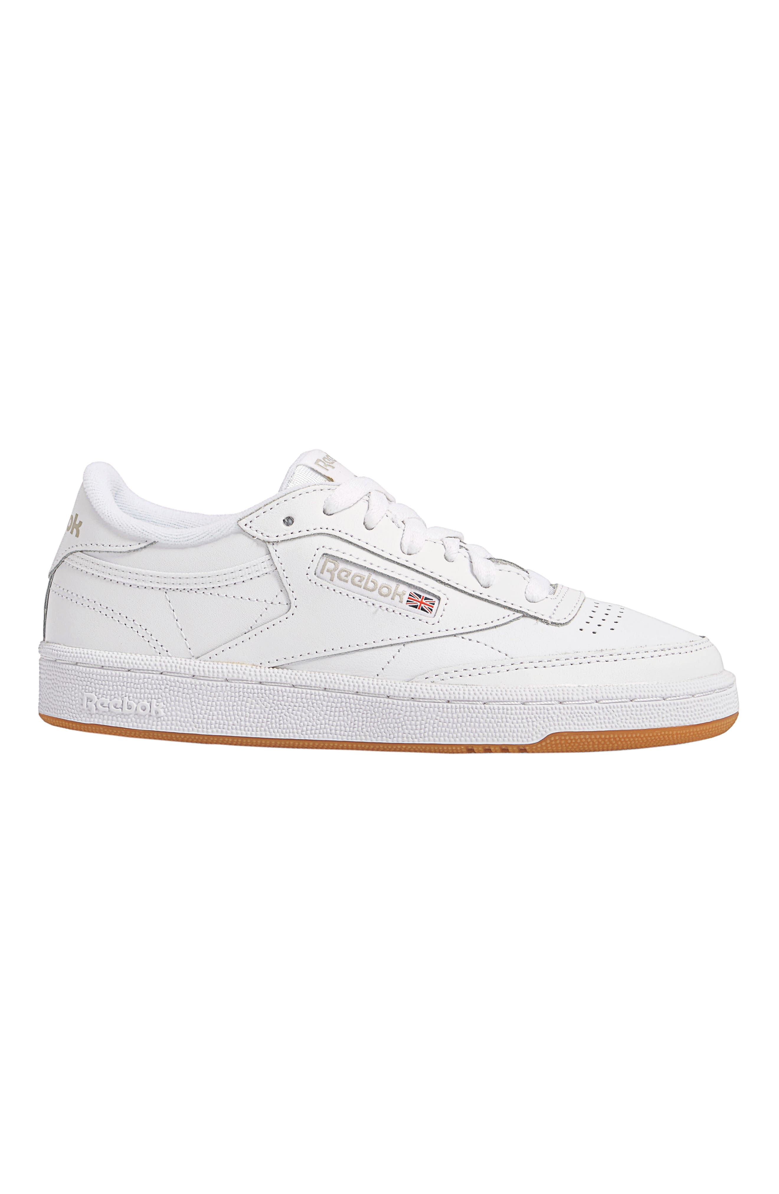 REEBOK, Club C 85 Sneaker, Alternate thumbnail 7, color, WHITE/ LIGHT GREY/ GUM