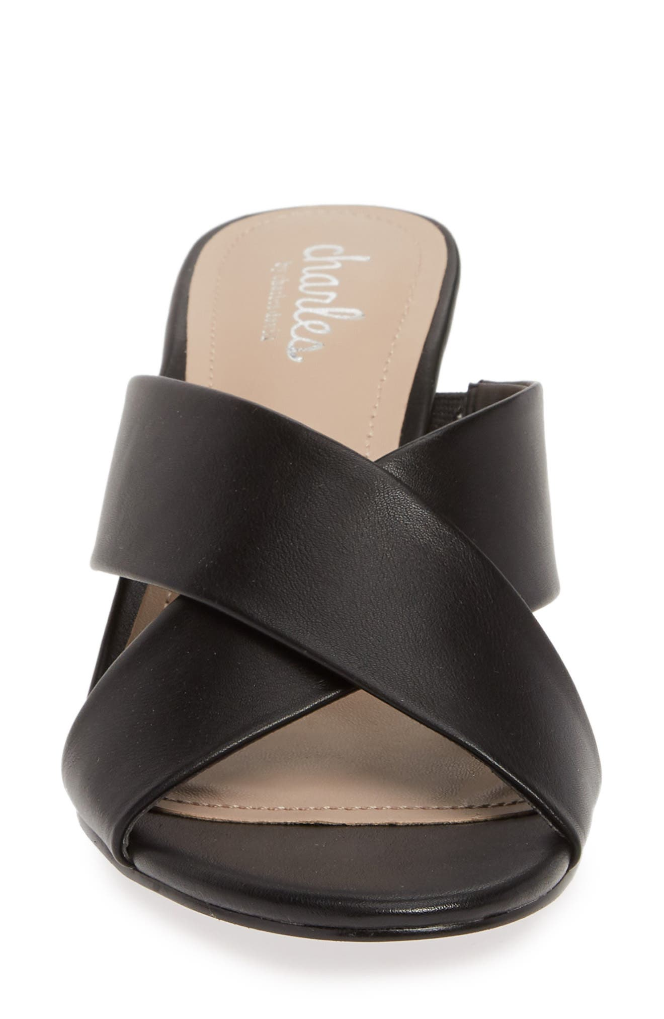 CHARLES BY CHARLES DAVID, Grady Slide Sandal, Alternate thumbnail 4, color, BLACK FAUX LEATHER