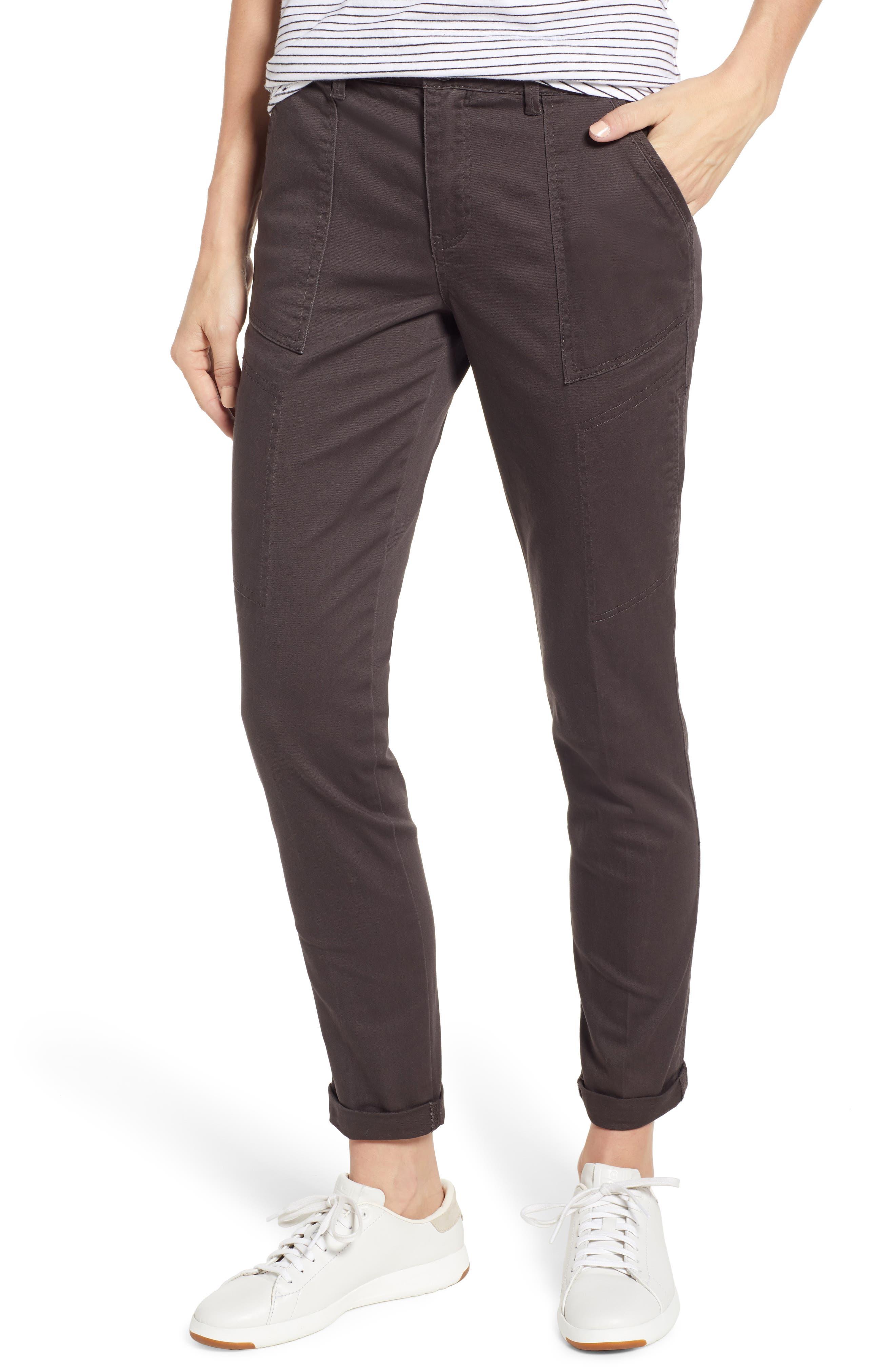 WIT & WISDOM Flex-ellent High Waist Cargo Pants, Main, color, ESPRESSO