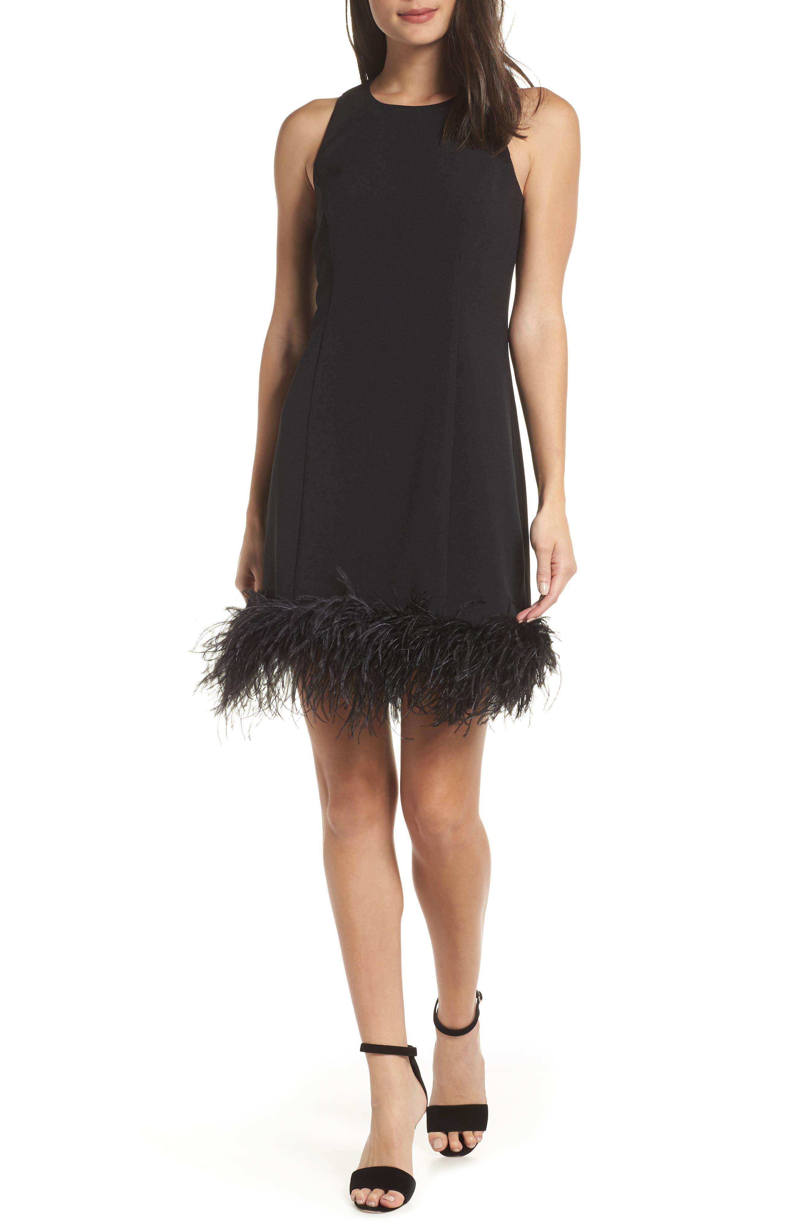 CHELSEA28, Feather Hem Sheath Dress, Main thumbnail 1, color, BLACK