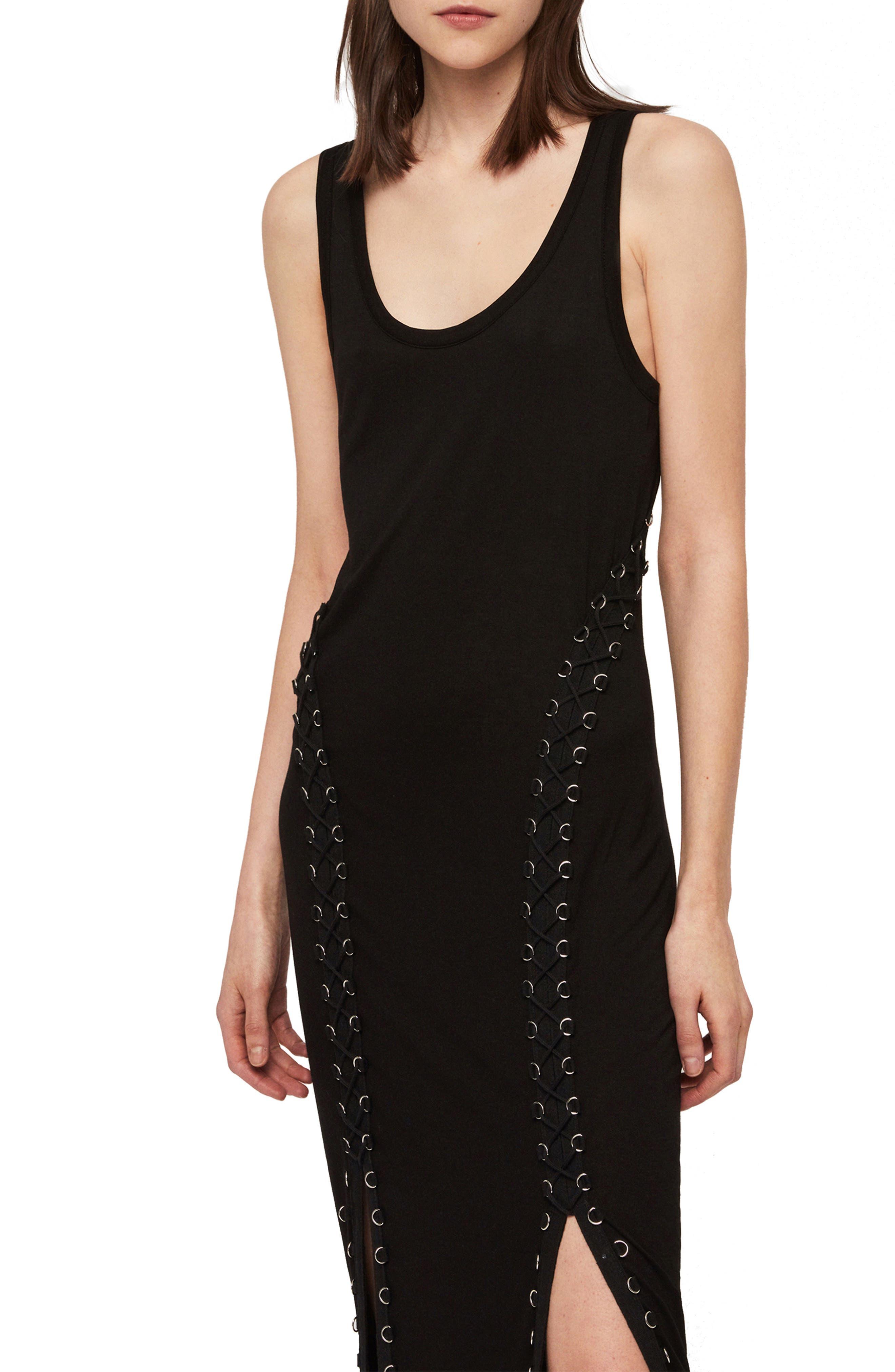 ALLSAINTS, Daner Lace-Up Side Maxi Dress, Alternate thumbnail 5, color, BLACK