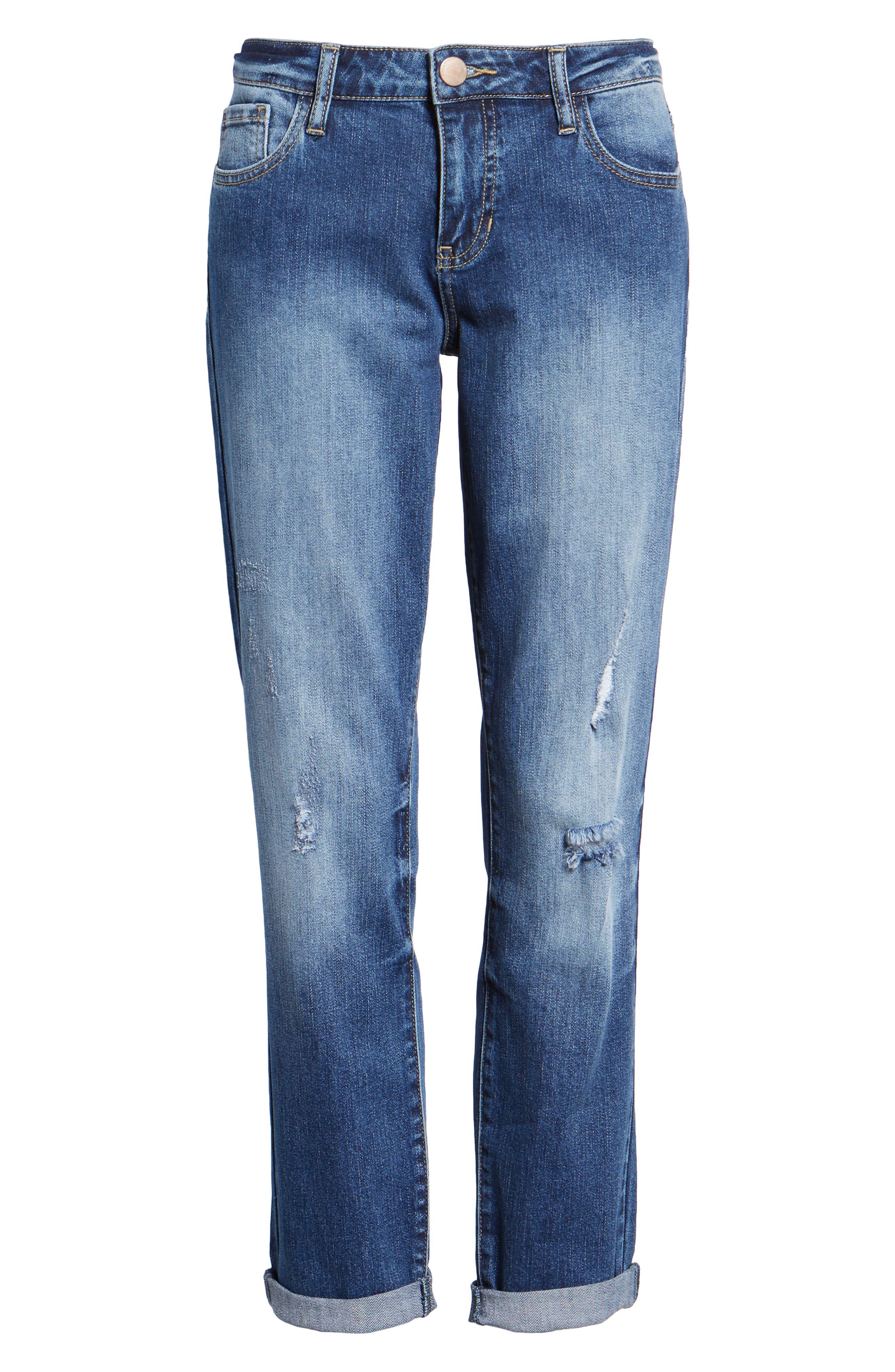 PROSPERITY DENIM, Ripped Girlfriend Jeans, Alternate thumbnail 7, color, BLUE