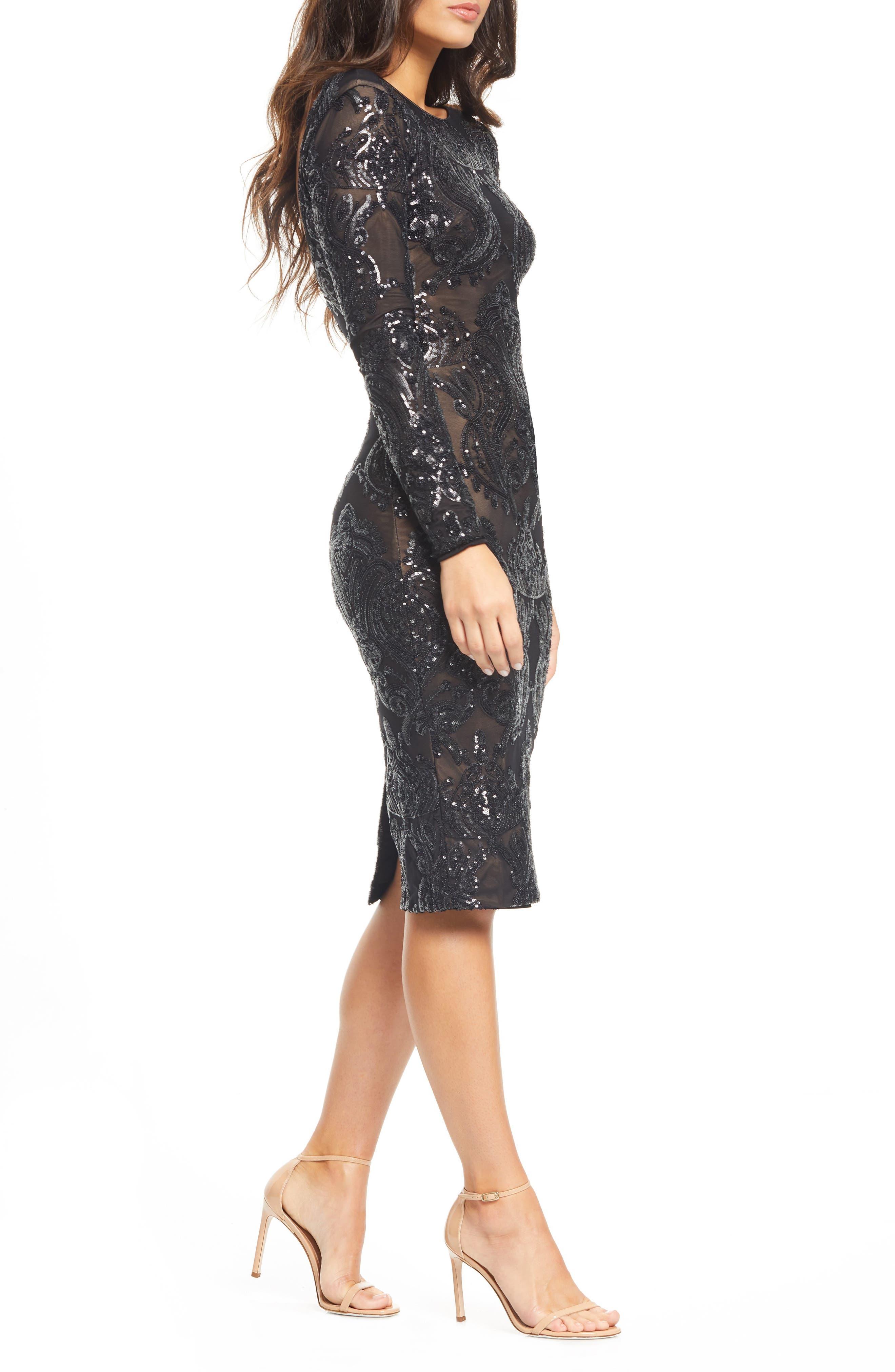 DRESS THE POPULATION, Emery Sequin Sheath Dress, Alternate thumbnail 4, color, BLACK/ NUDE