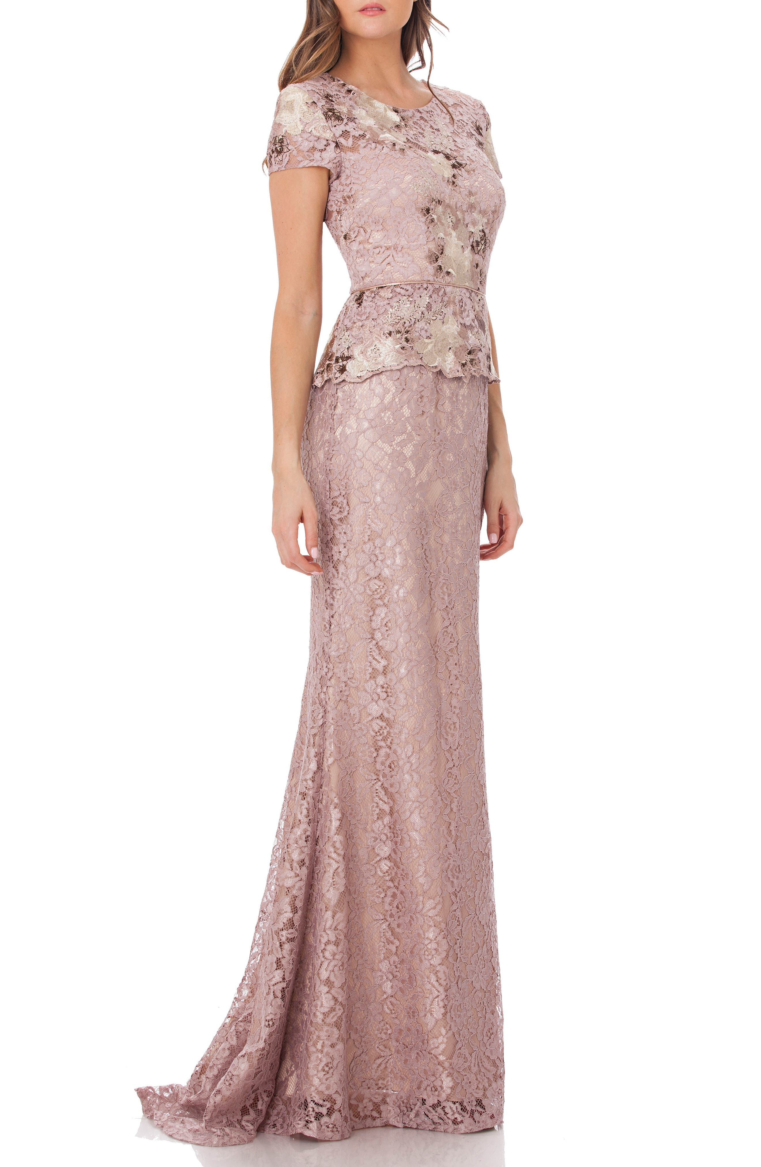 JS COLLECTIONS, Lace Gown, Main thumbnail 1, color, LAVENDER/ BLUSH