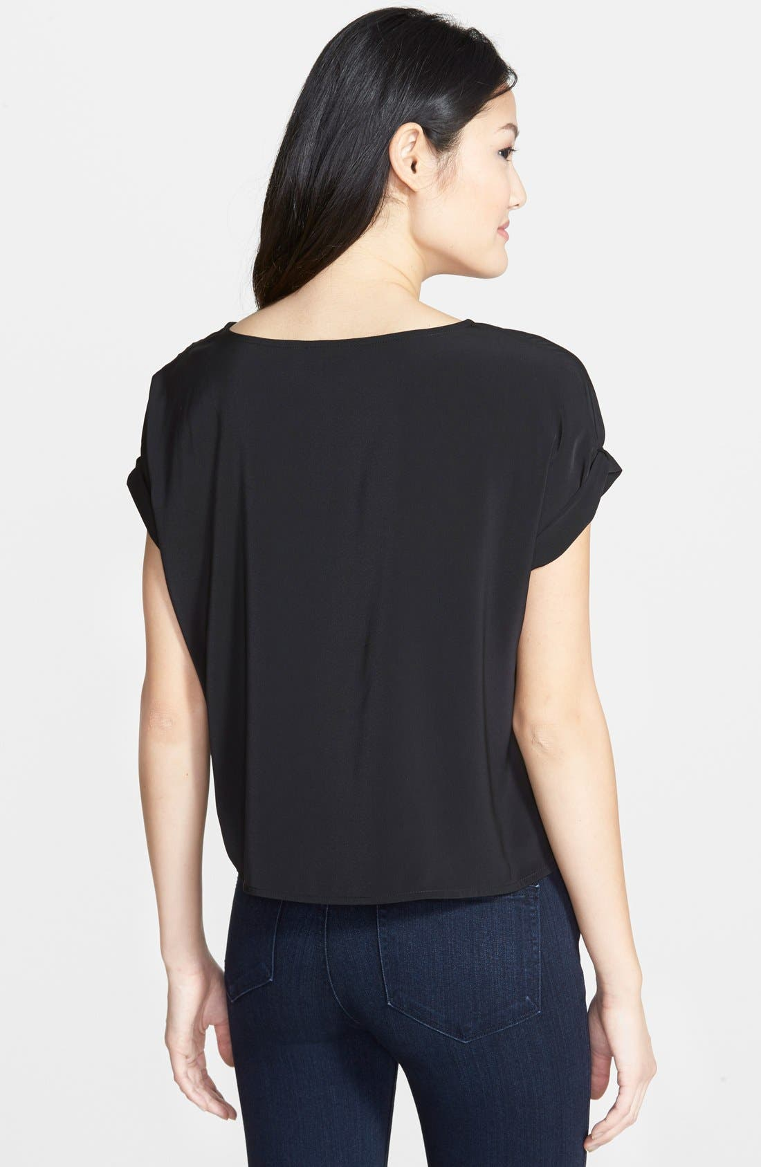 HALOGEN<SUP>®</SUP>, Roll Sleeve Crepe Blouse, Alternate thumbnail 2, color, 001