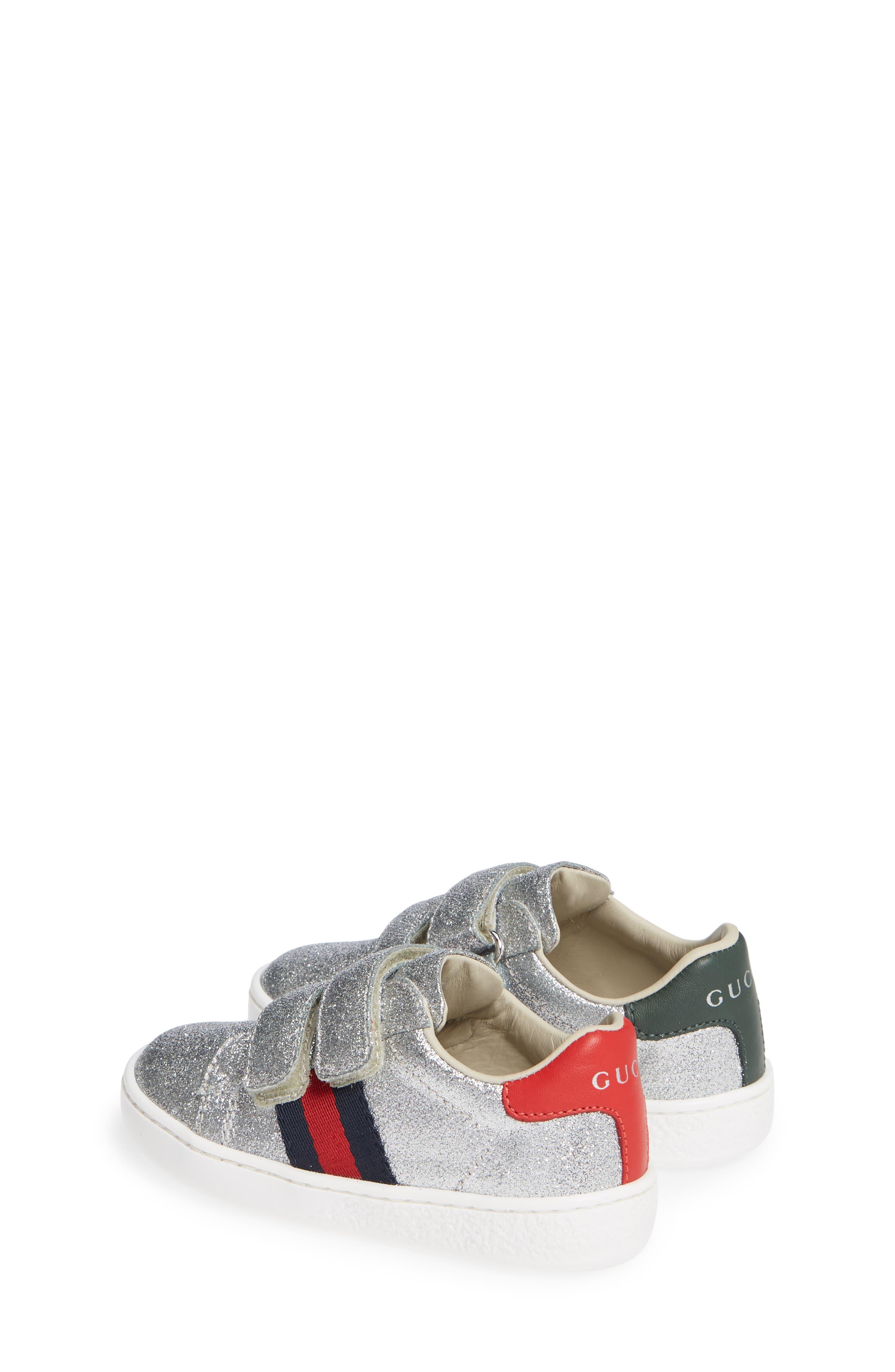 GUCCI, New Ace Sneaker, Alternate thumbnail 3, color, METALLIC SILVER
