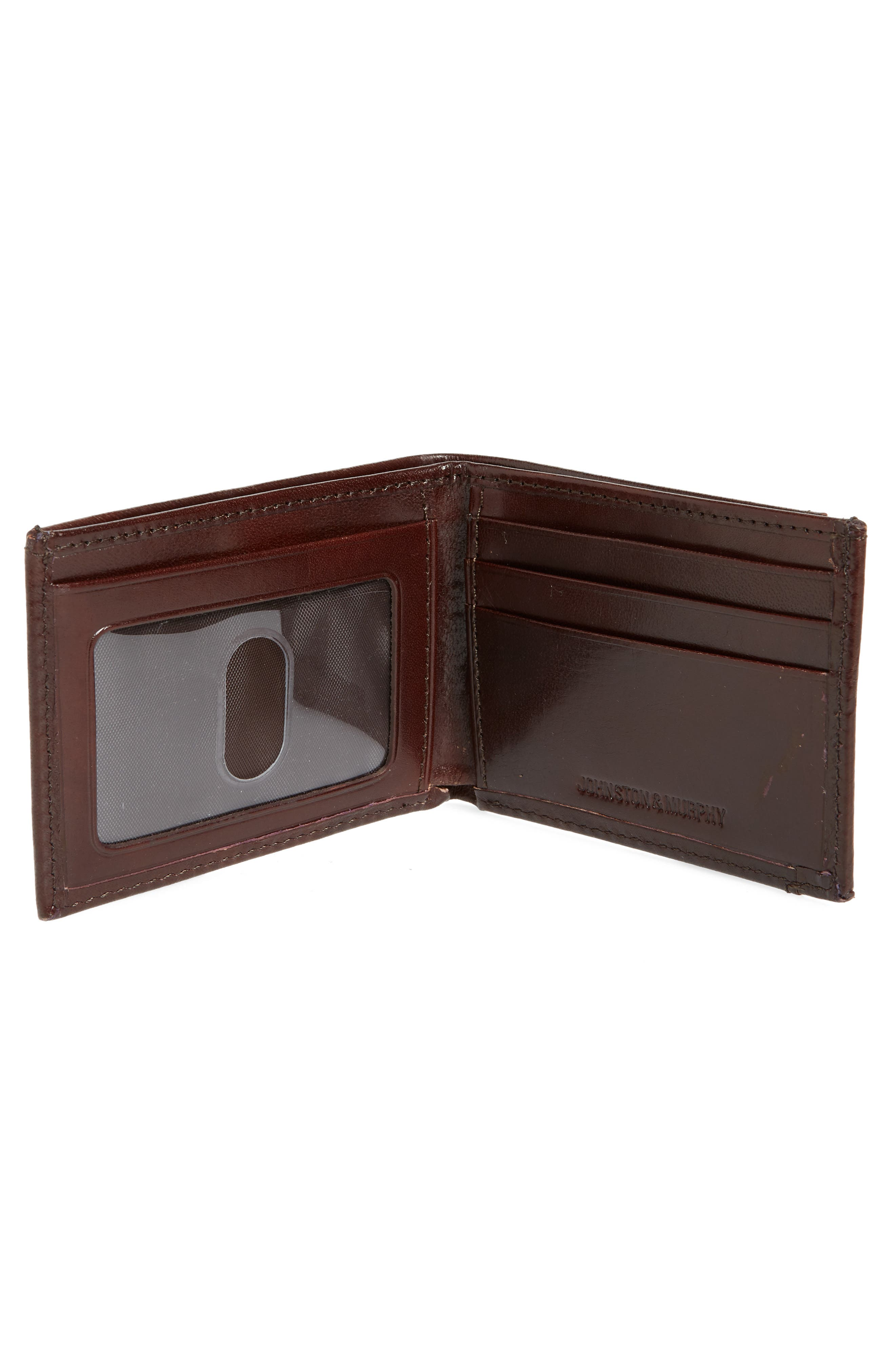 JOHNSTON & MURPHY, Leather Wallet, Alternate thumbnail 2, color, BROWN