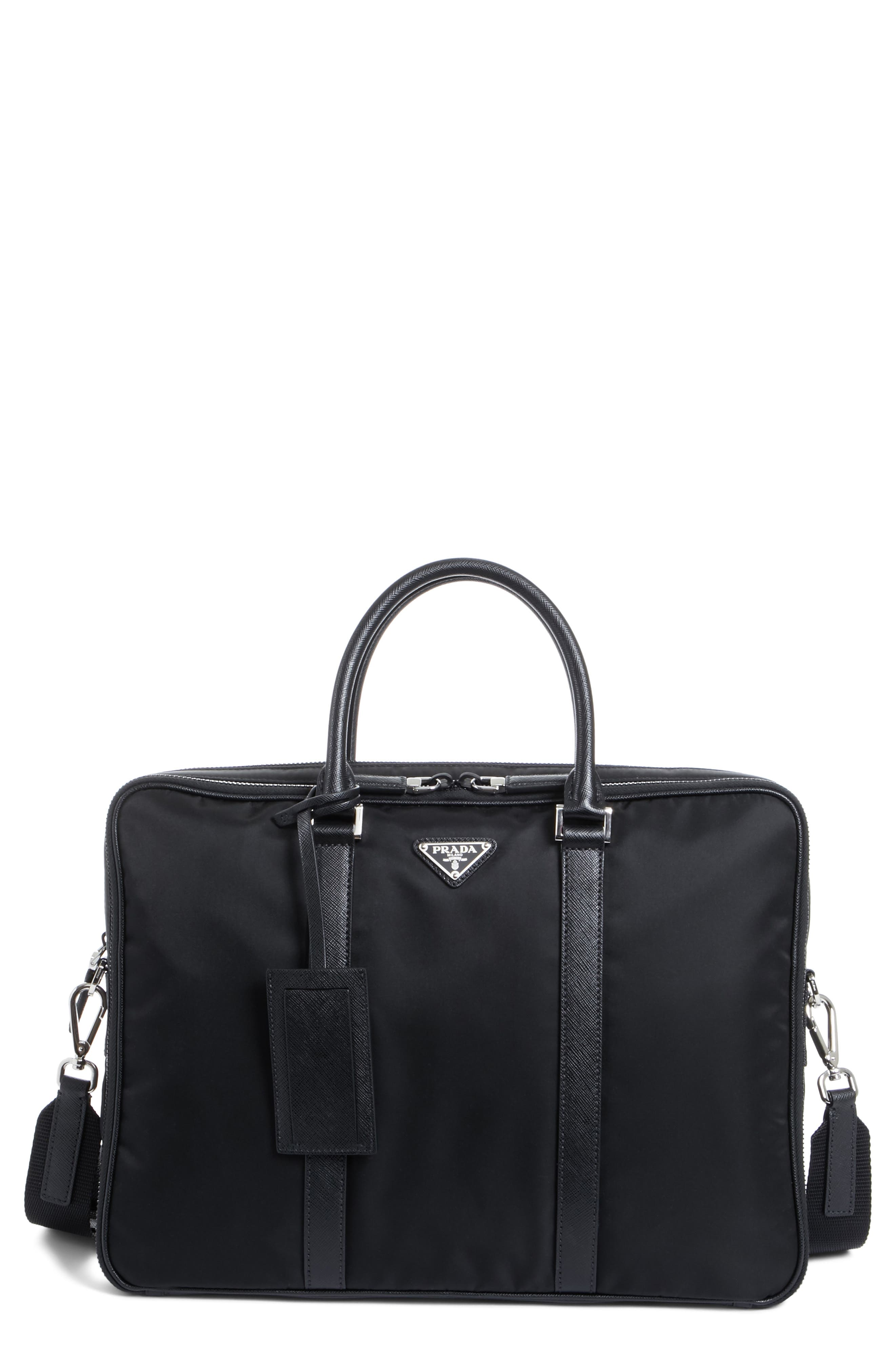 PRADA Nylon Briefcase with Saffiano Leather Trim, Main, color, 001