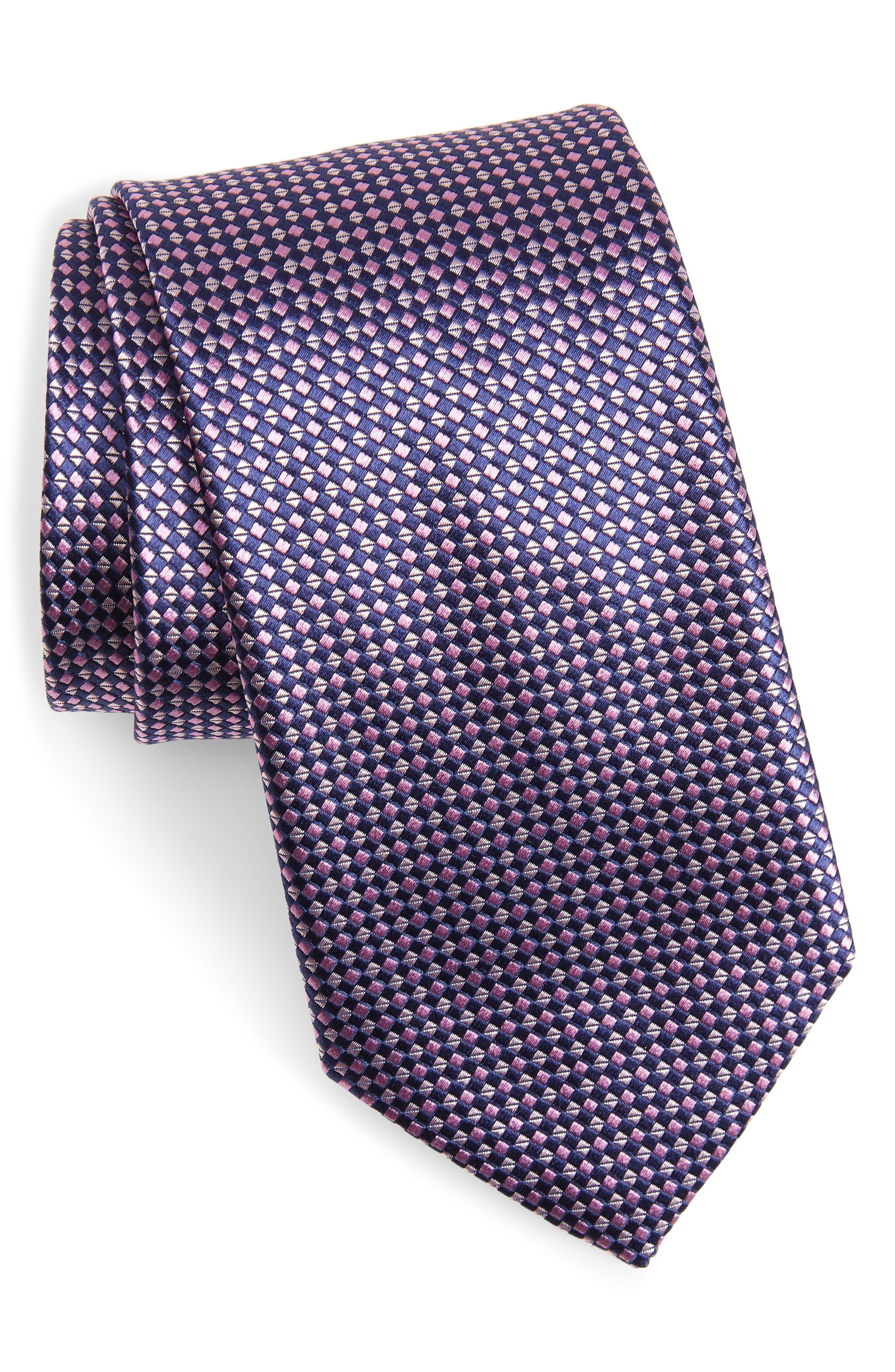 CANALI, Geometric Silk Tie, Main thumbnail 1, color, PINK
