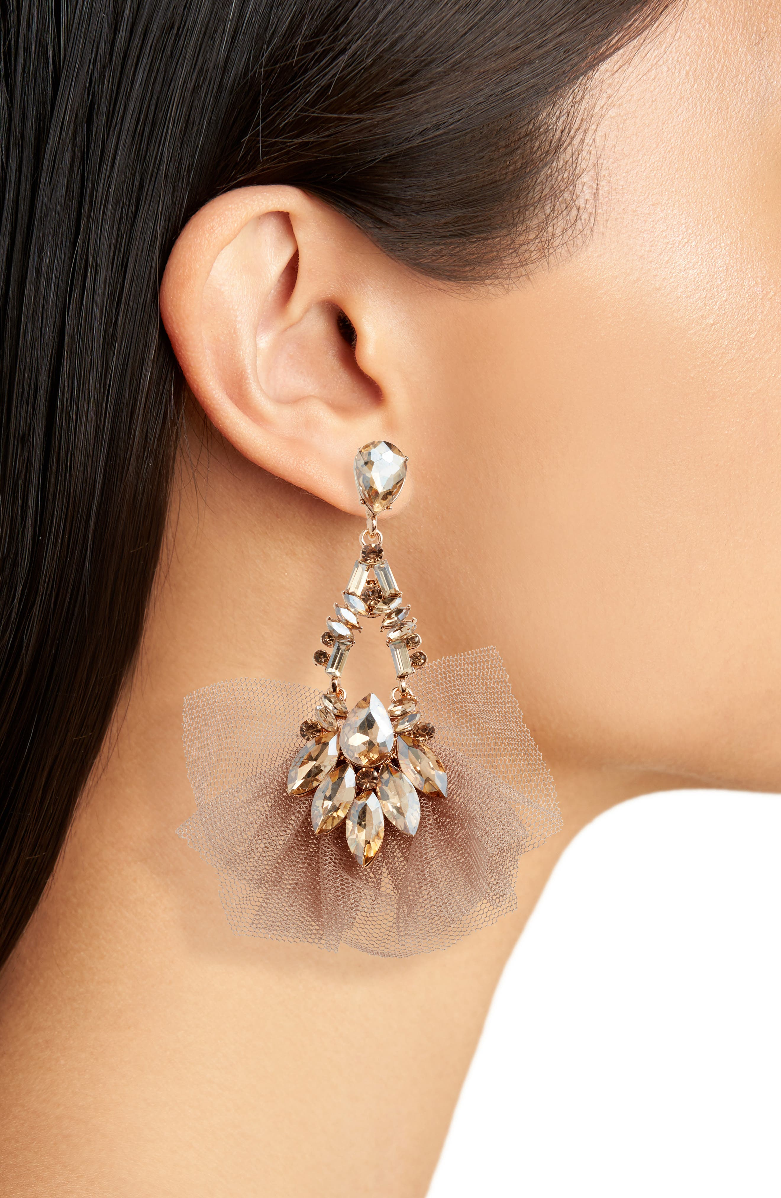STELLA + RUBY, Tulle Drop Earrings, Alternate thumbnail 2, color, 710