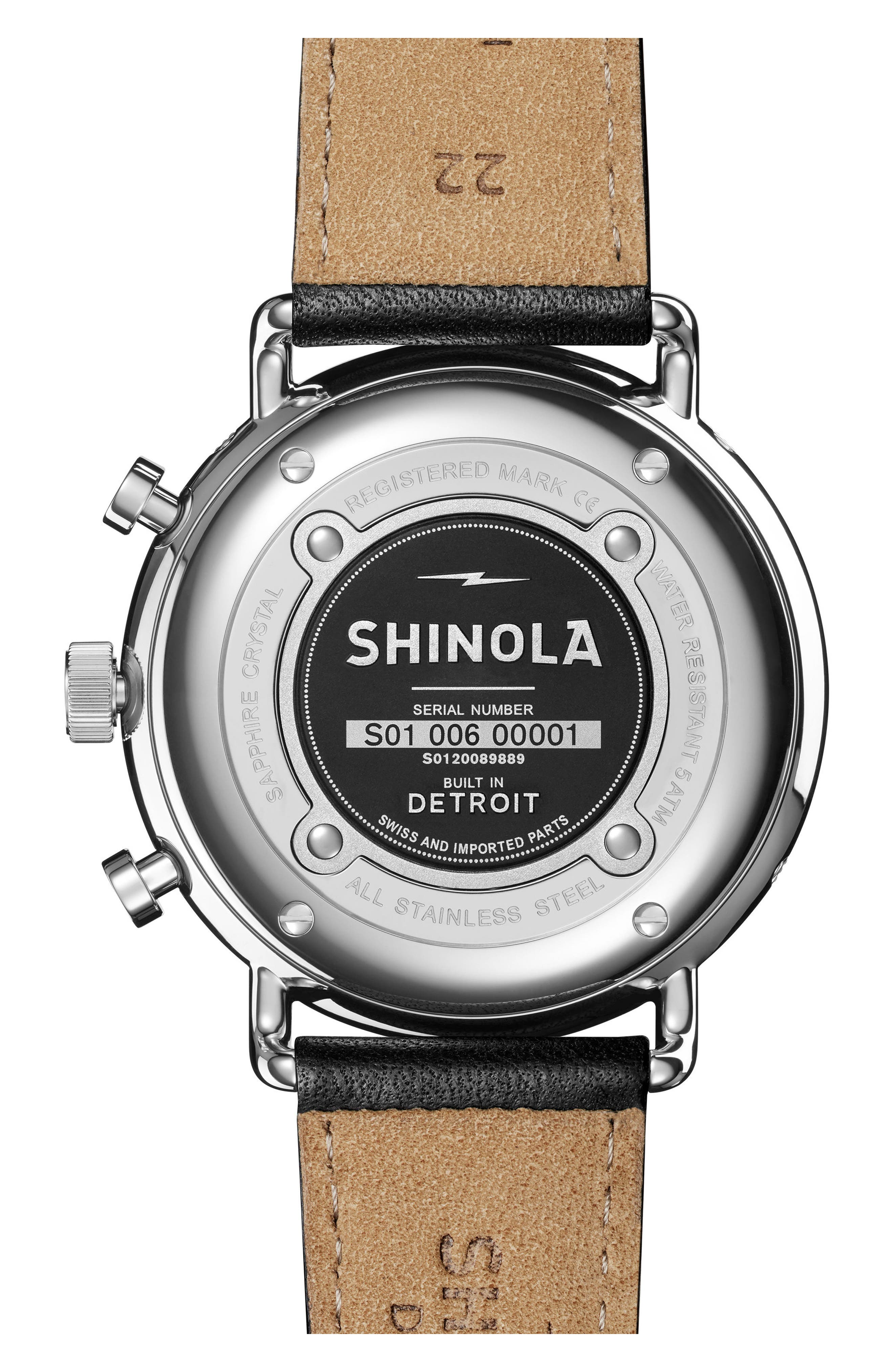 SHINOLA, The Canfield Chrono Leather Strap Watch, 45mm, Alternate thumbnail 2, color, BLACK/ SILVER