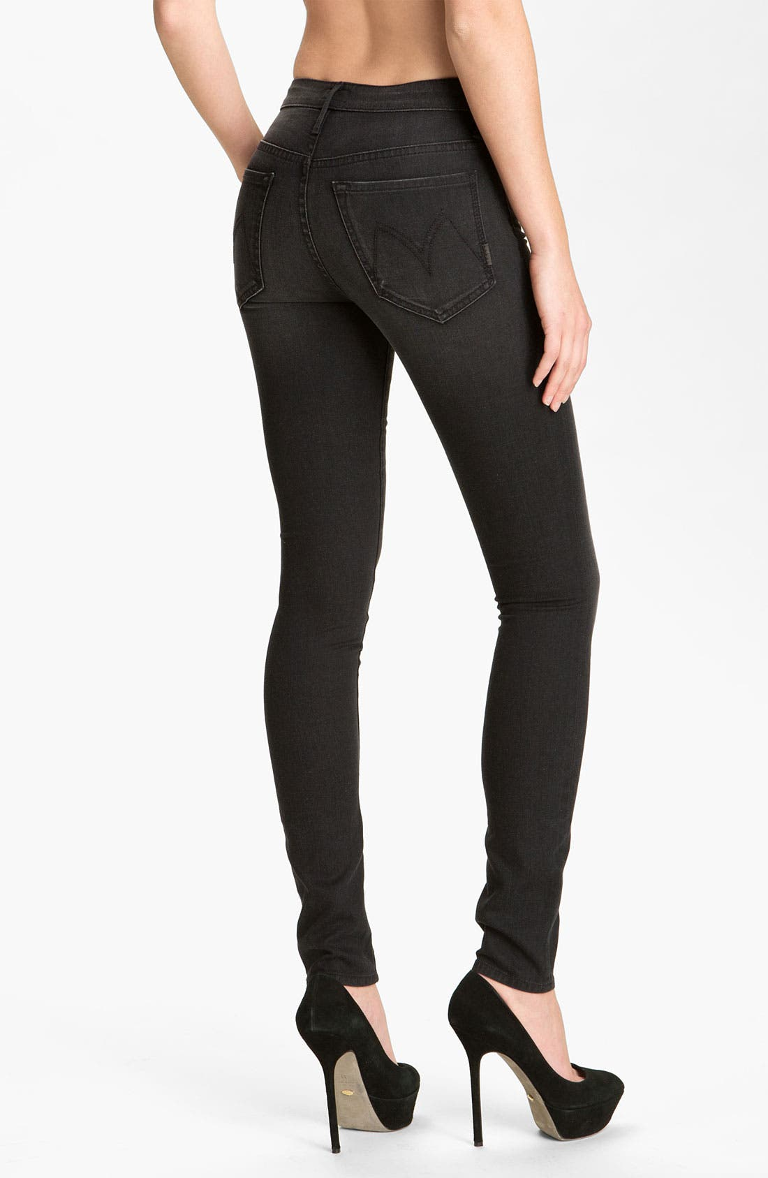 MOTHER, 'The Looker' Skinny Stretch Jeans, Alternate thumbnail 3, color, 001