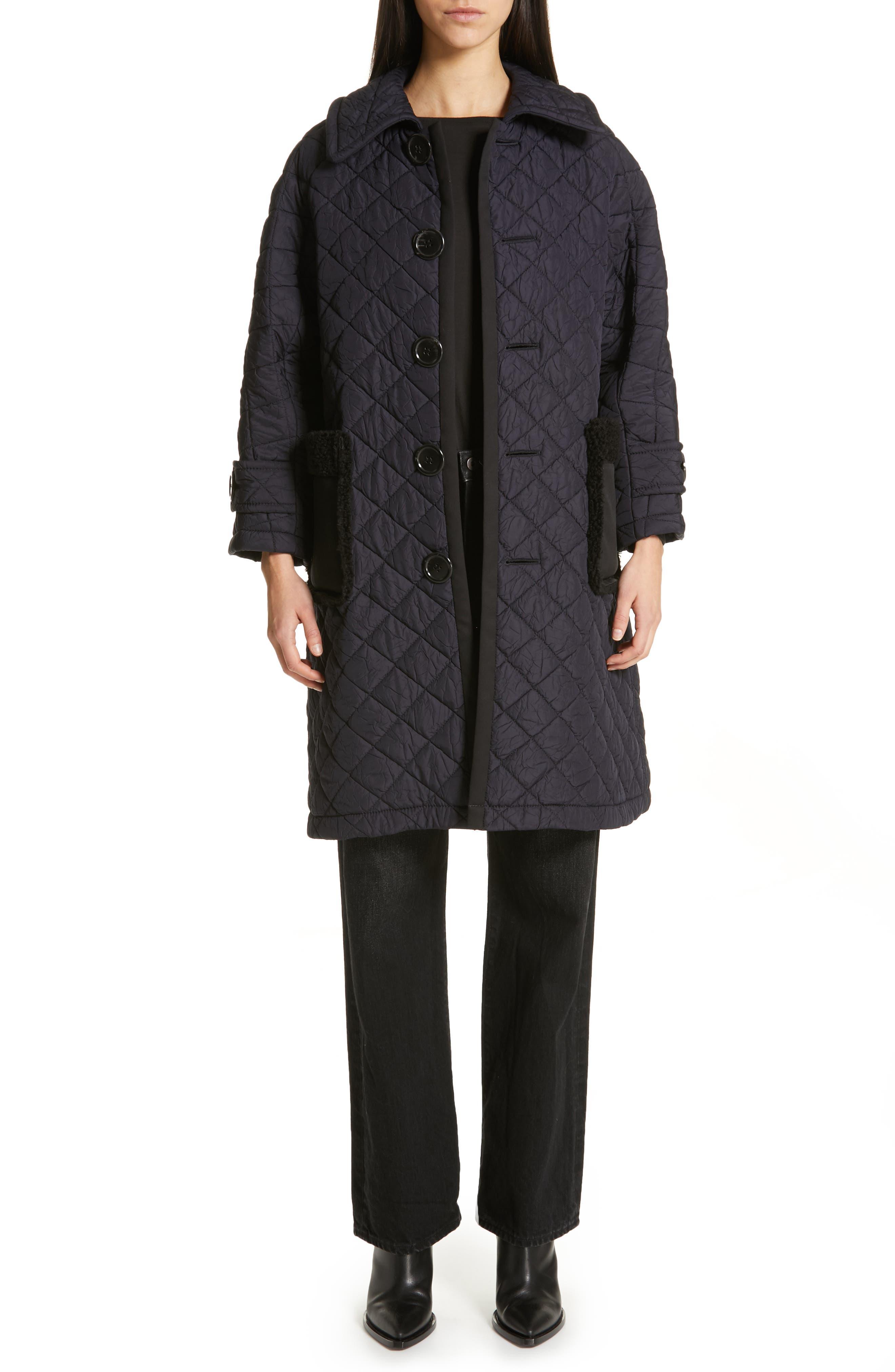 TRICOT COMME DES GARÇONS, Quilted Coat with Faux Fur Trim, Alternate thumbnail 8, color, NAVY X BLACK