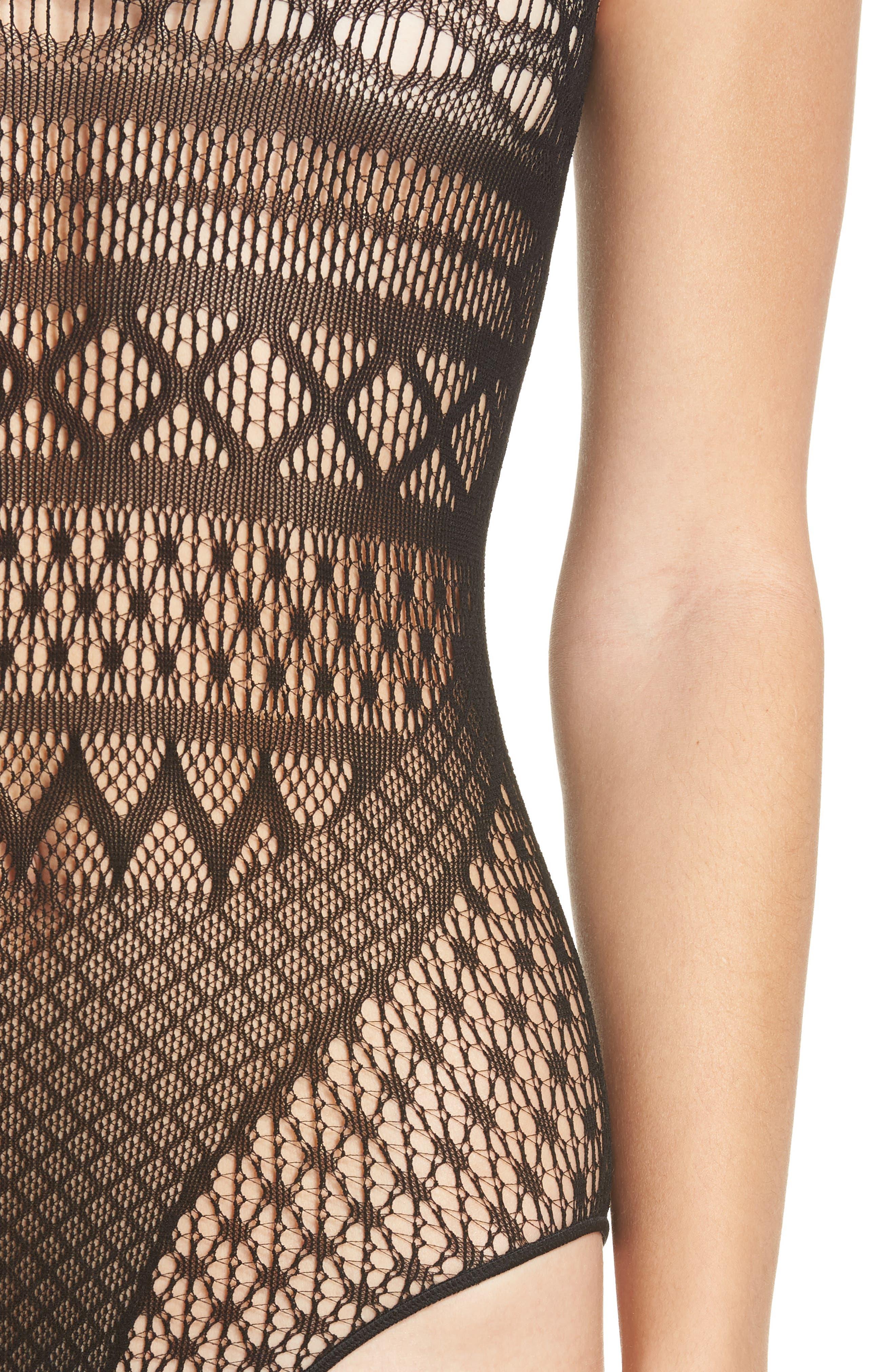 HAUTY, Lace Bodysuit, Alternate thumbnail 4, color, BLACK