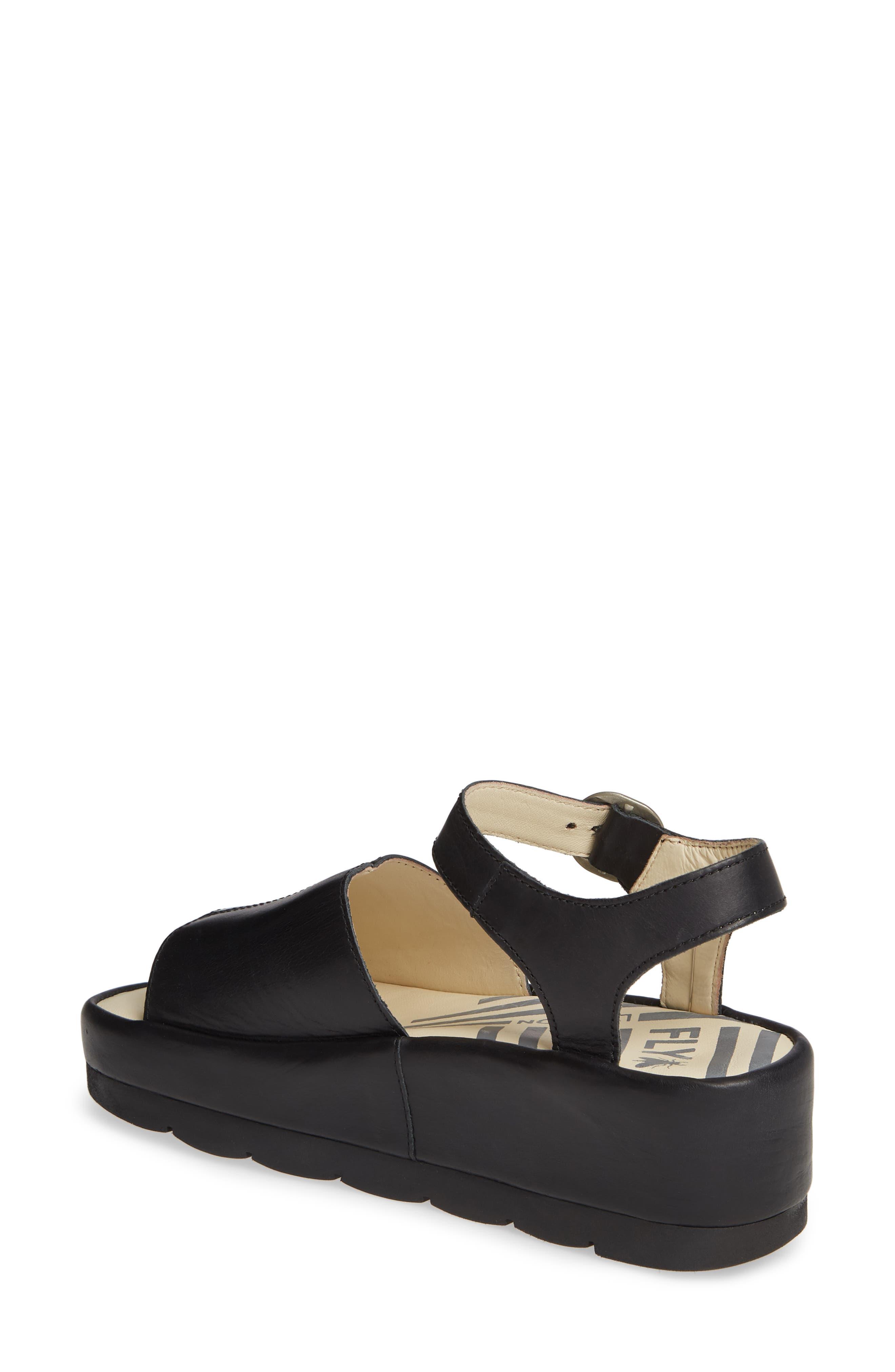 FLY LONDON, Bano Platform Sandal, Alternate thumbnail 2, color, BLACK LEATHER
