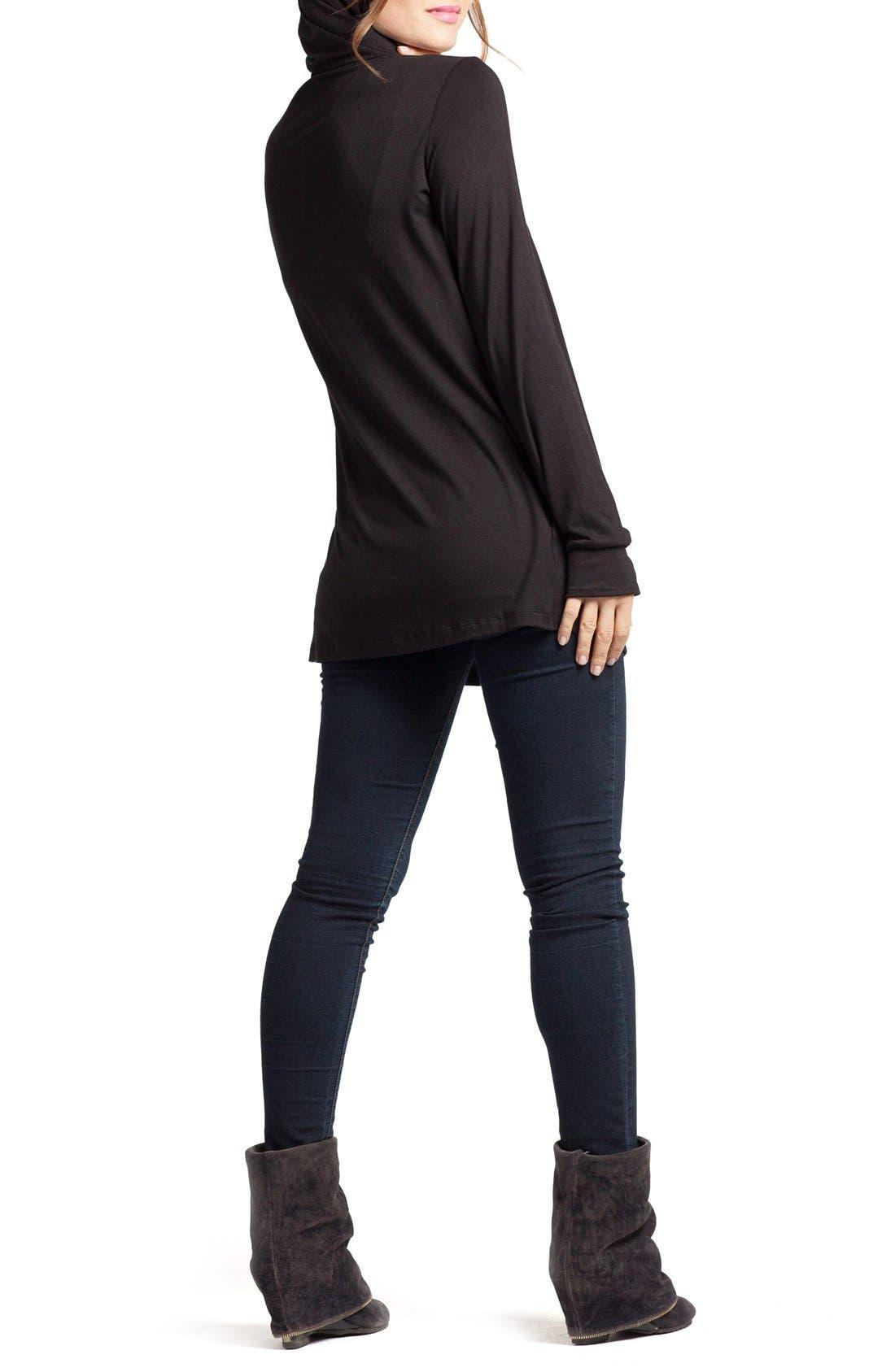 SAVI MOM, Hooded Maternity/Nursing Tunic, Alternate thumbnail 2, color, BLACK