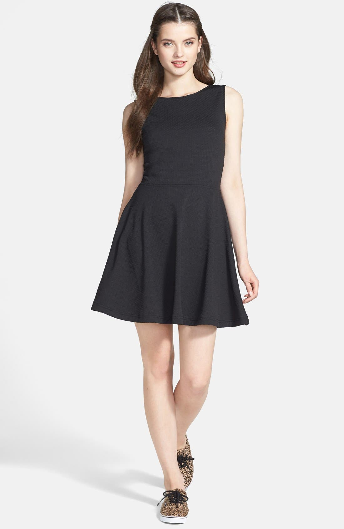 FRENCHI  Textured Skater Dress, Main, color, 001