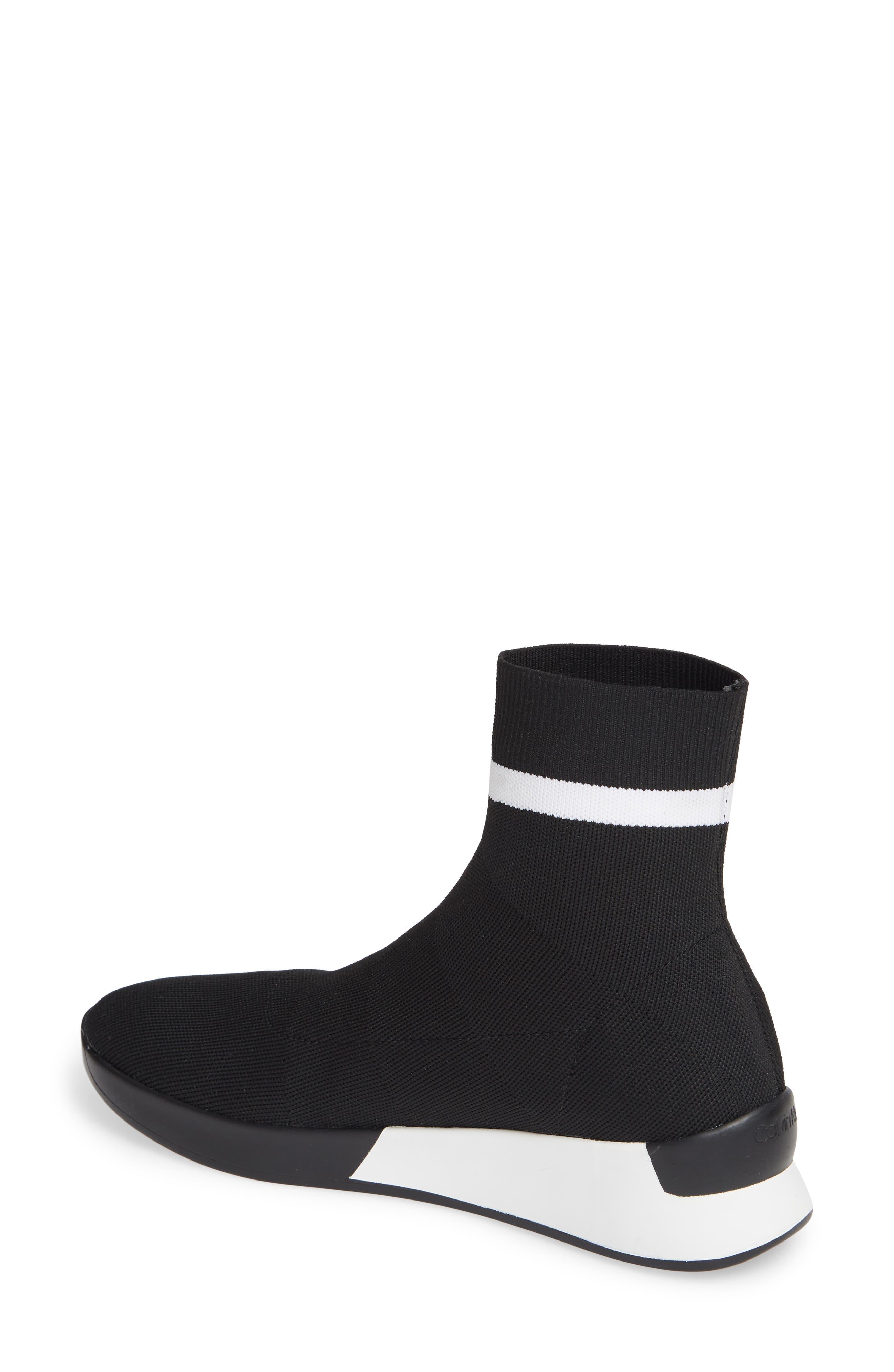 CALVIN KLEIN, Quan Stretch Knit Sneaker, Alternate thumbnail 2, color, BLACK/ WHITE FABRIC