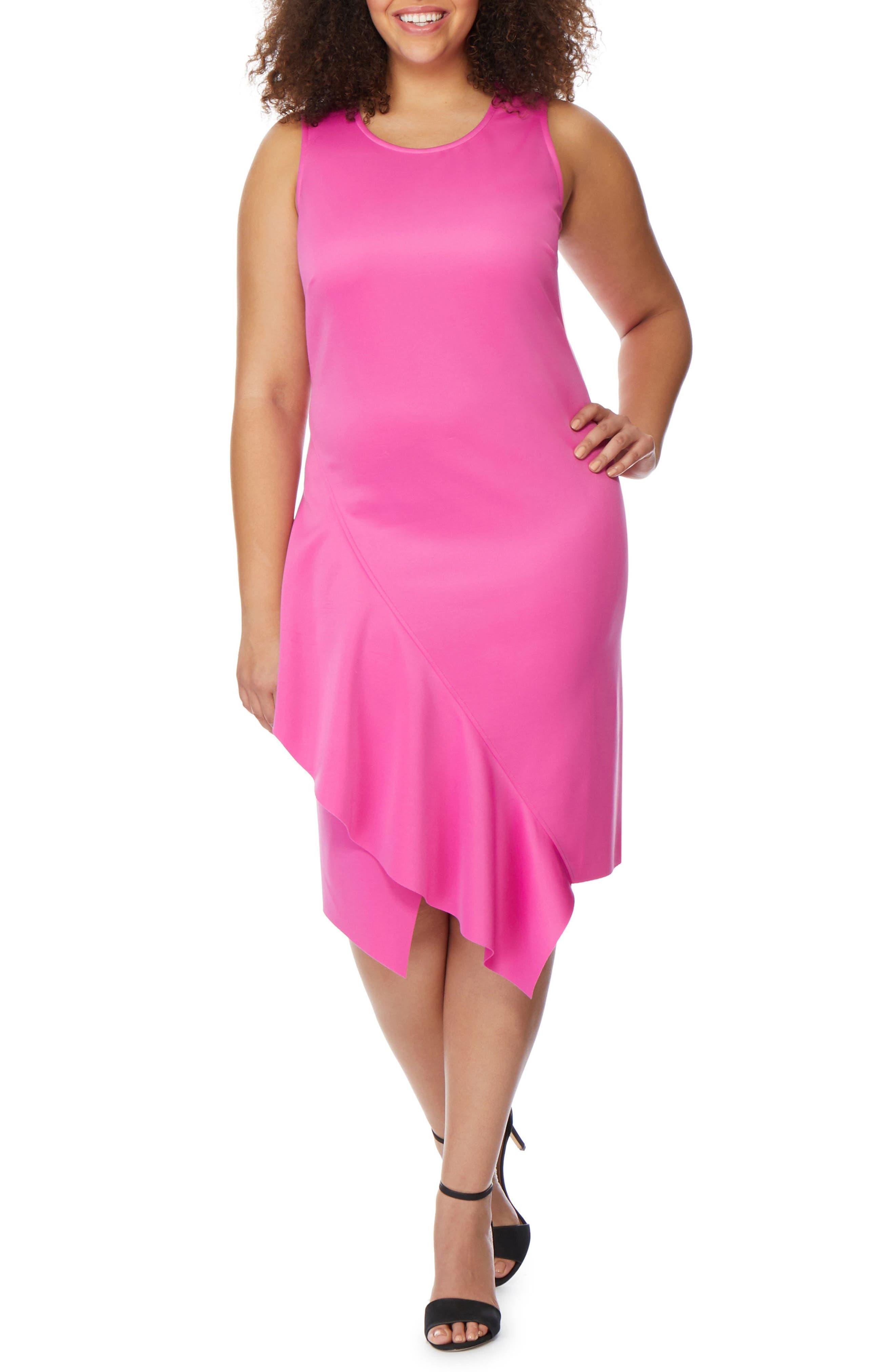 REBEL WILSON X ANGELS, Asymmetrical Hem Ruffle Dress, Main thumbnail 1, color, ROSE VIOLET