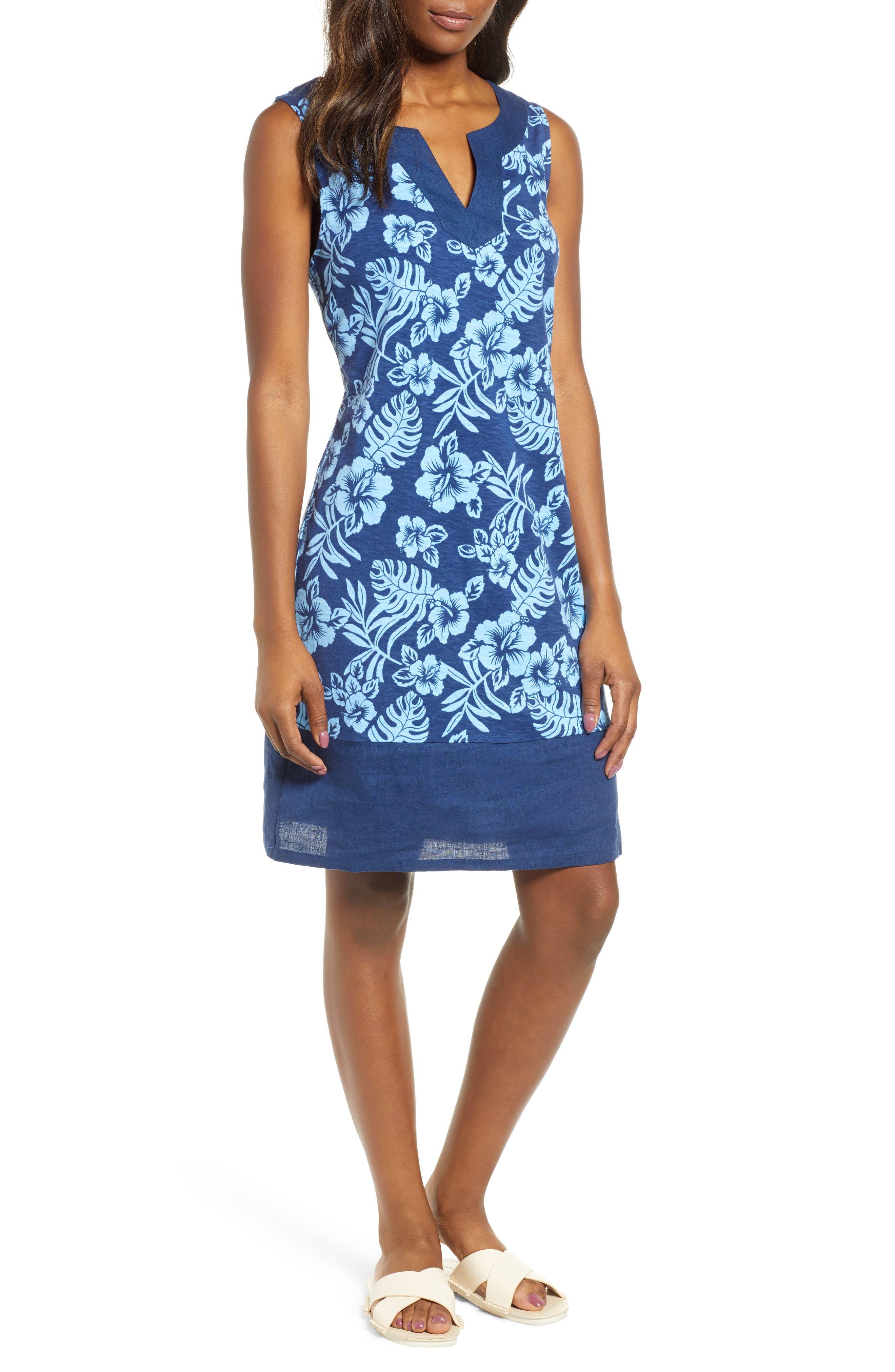 Tommy Bahama Hoani Hibiscus Shift Dress, Blue
